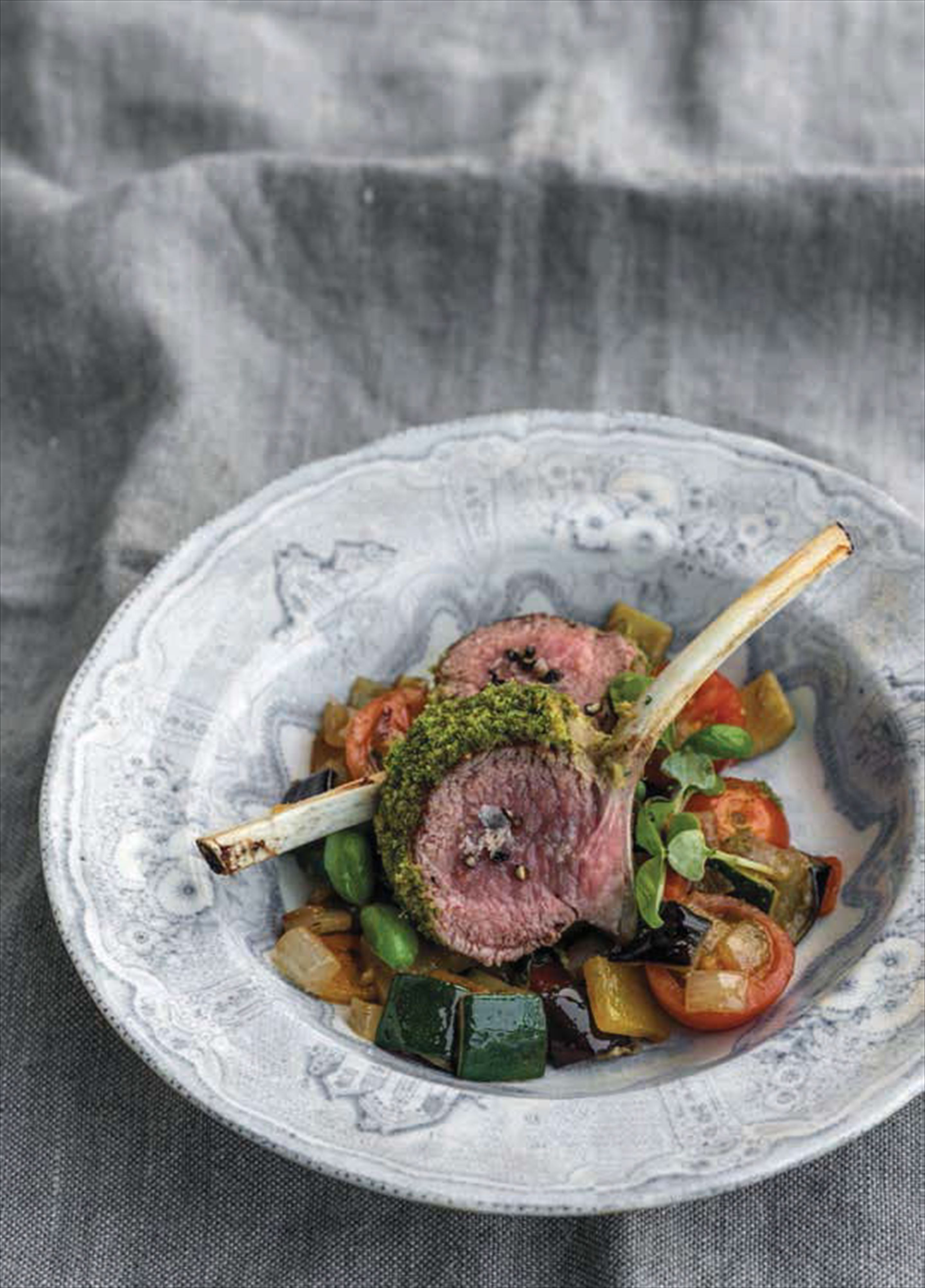 Herb-crusted rack of lamb with ratatouille