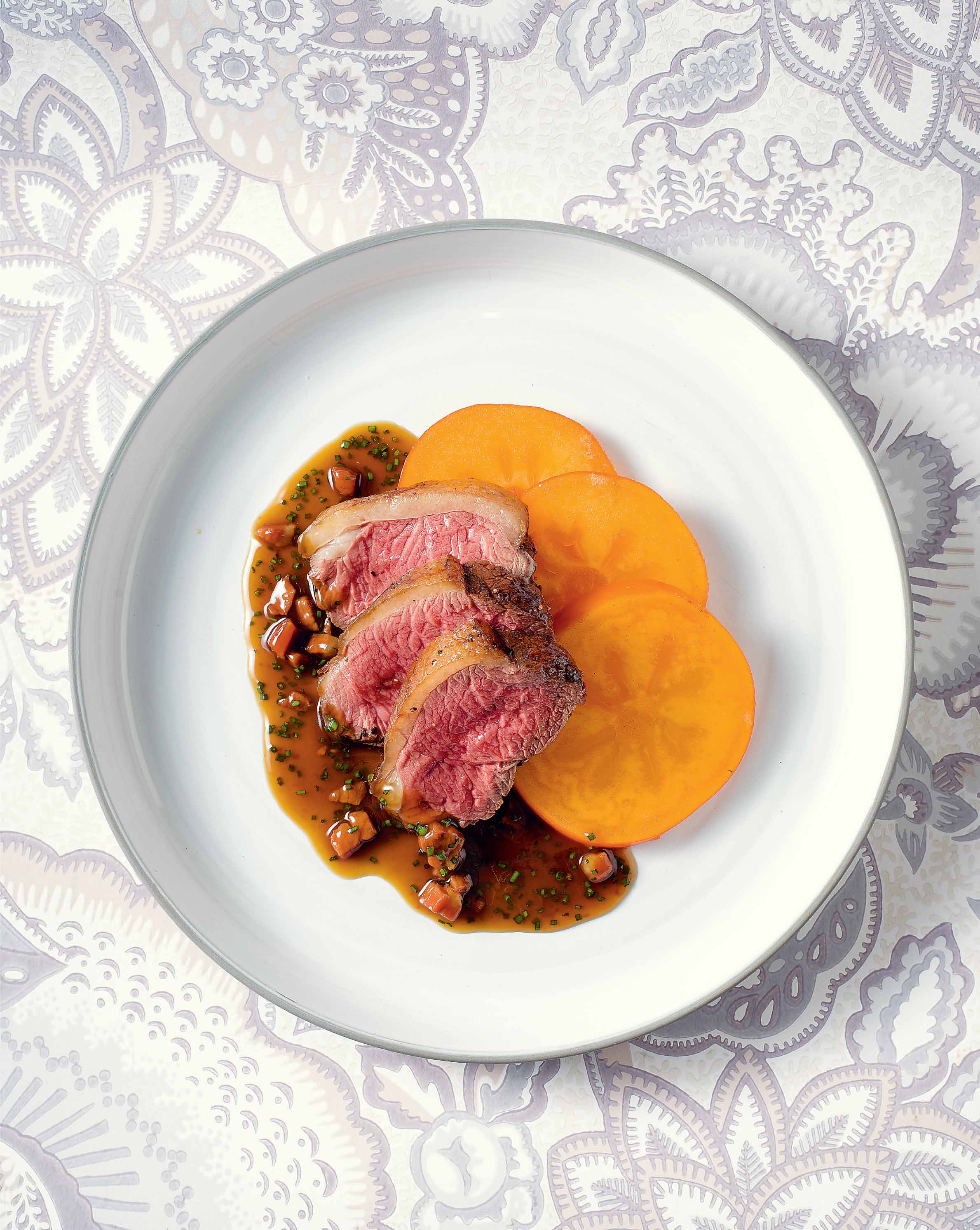 Venison in red-eye gravy with persimmons