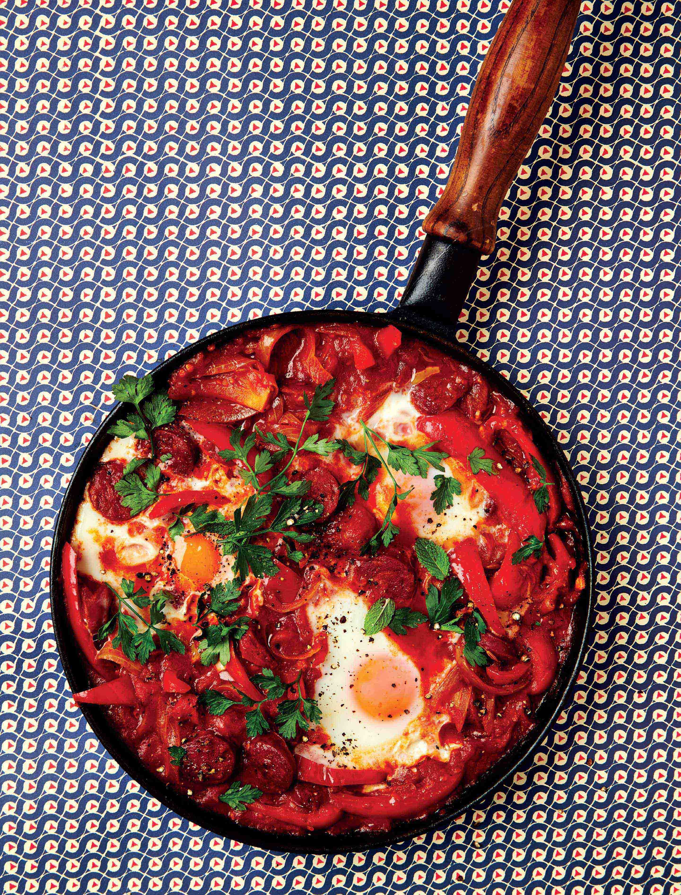 Red pepper baked eggs