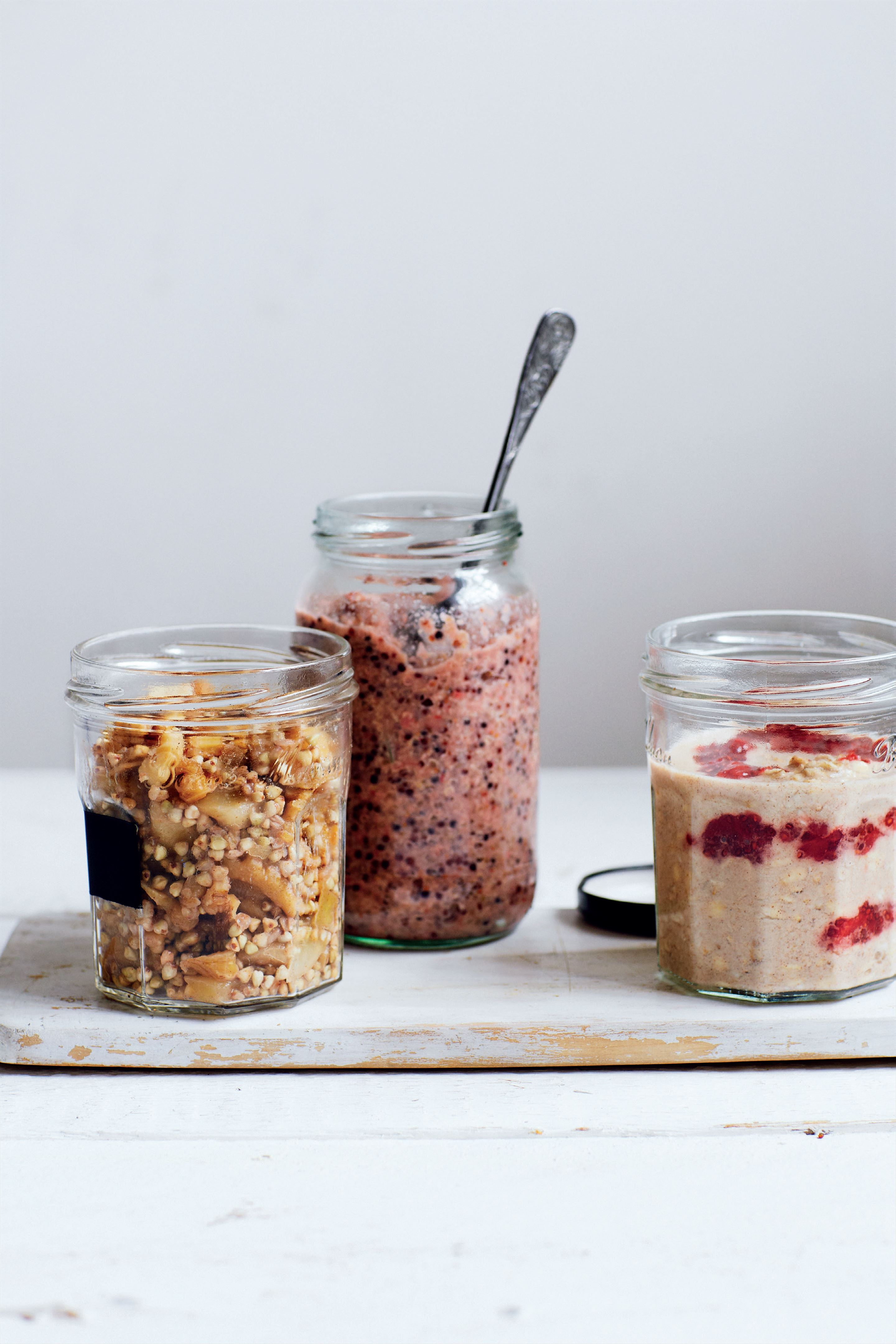 Raw oatmeal with chia jam in a jar