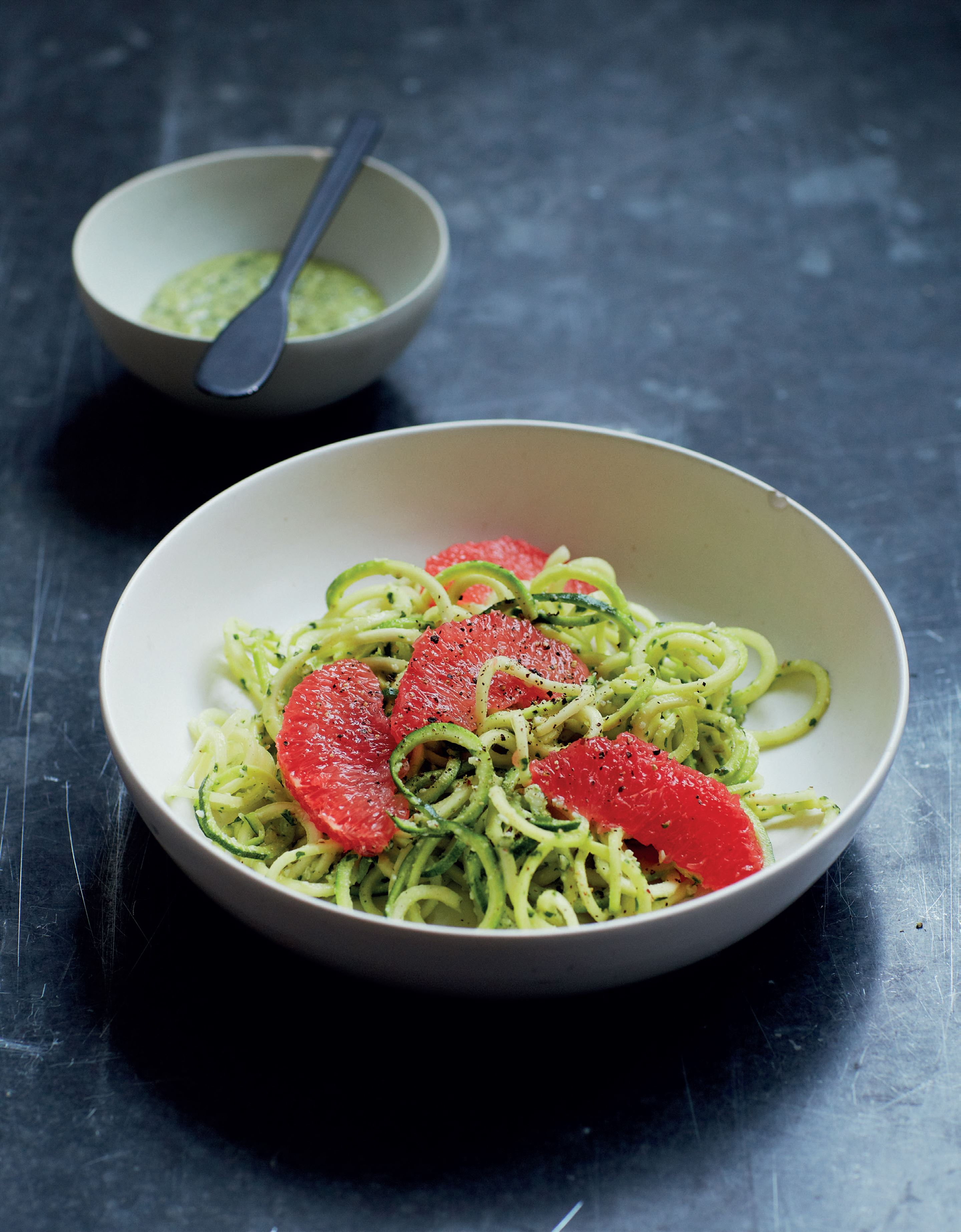 Courgetti spaghetti with grapefruit and brazil nut pesto