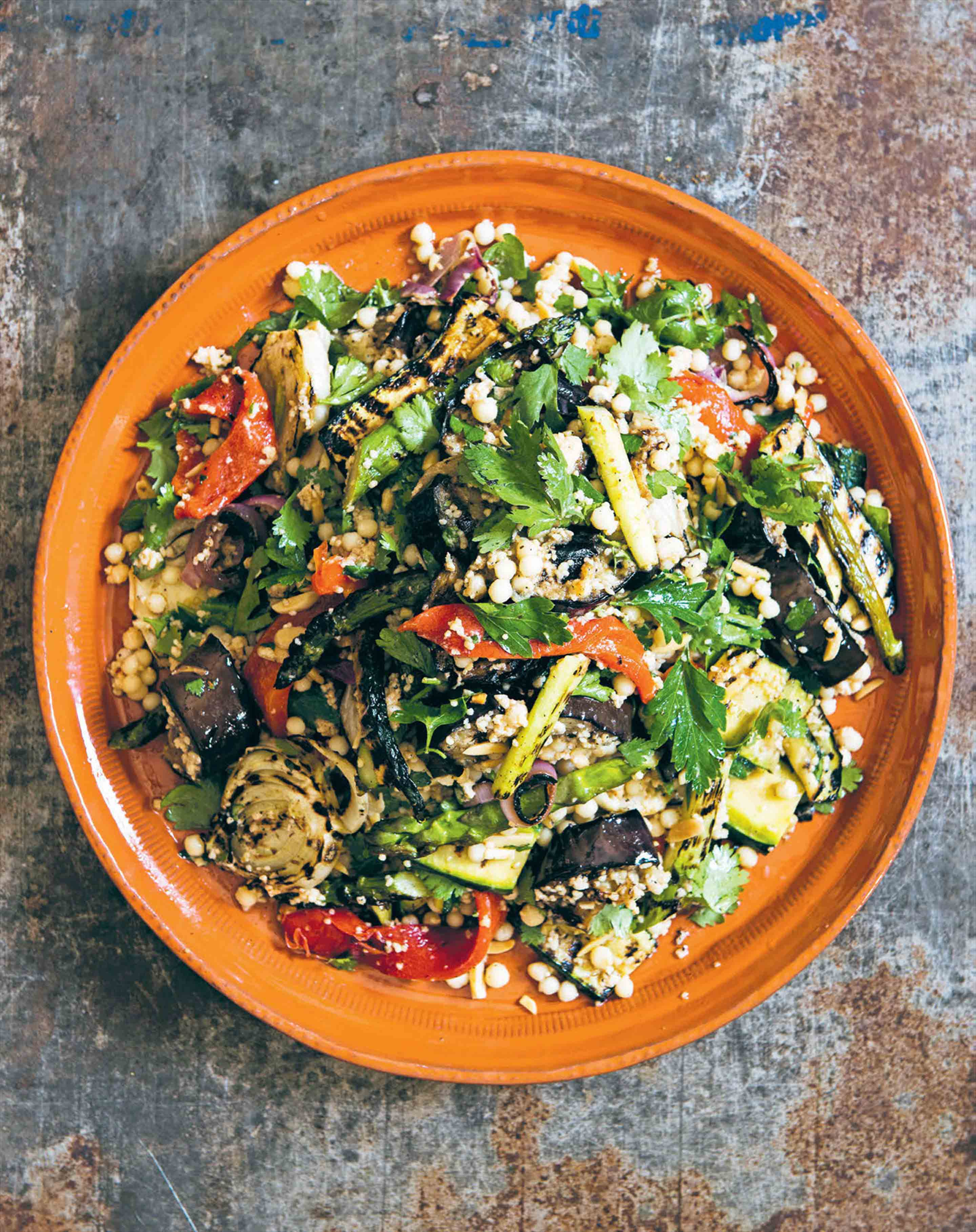 Chargrilled vegetable salad with couscous, spiced yoghurt & almonds