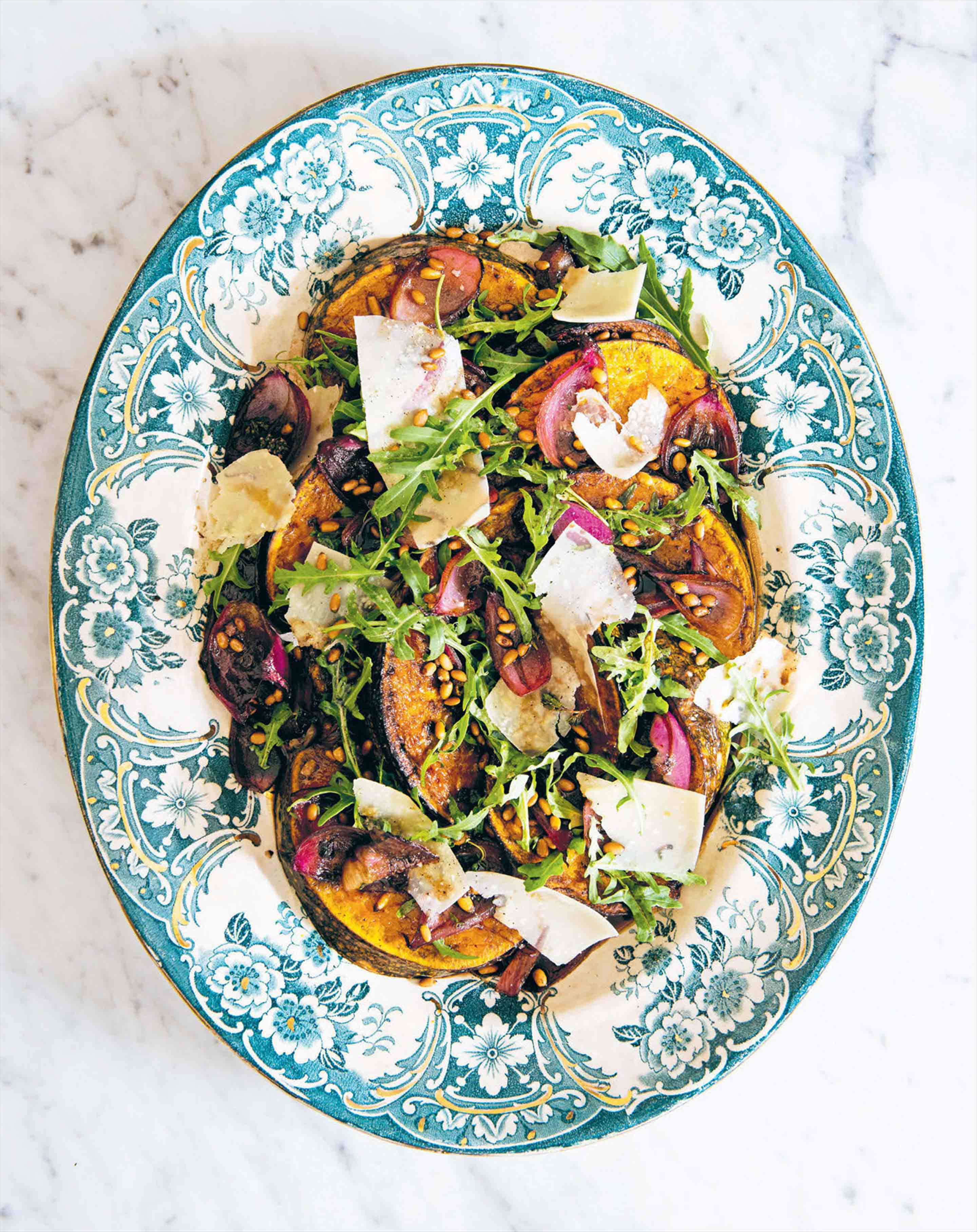 Roasted pumpkin, rocket, balsamic onion & parmesan