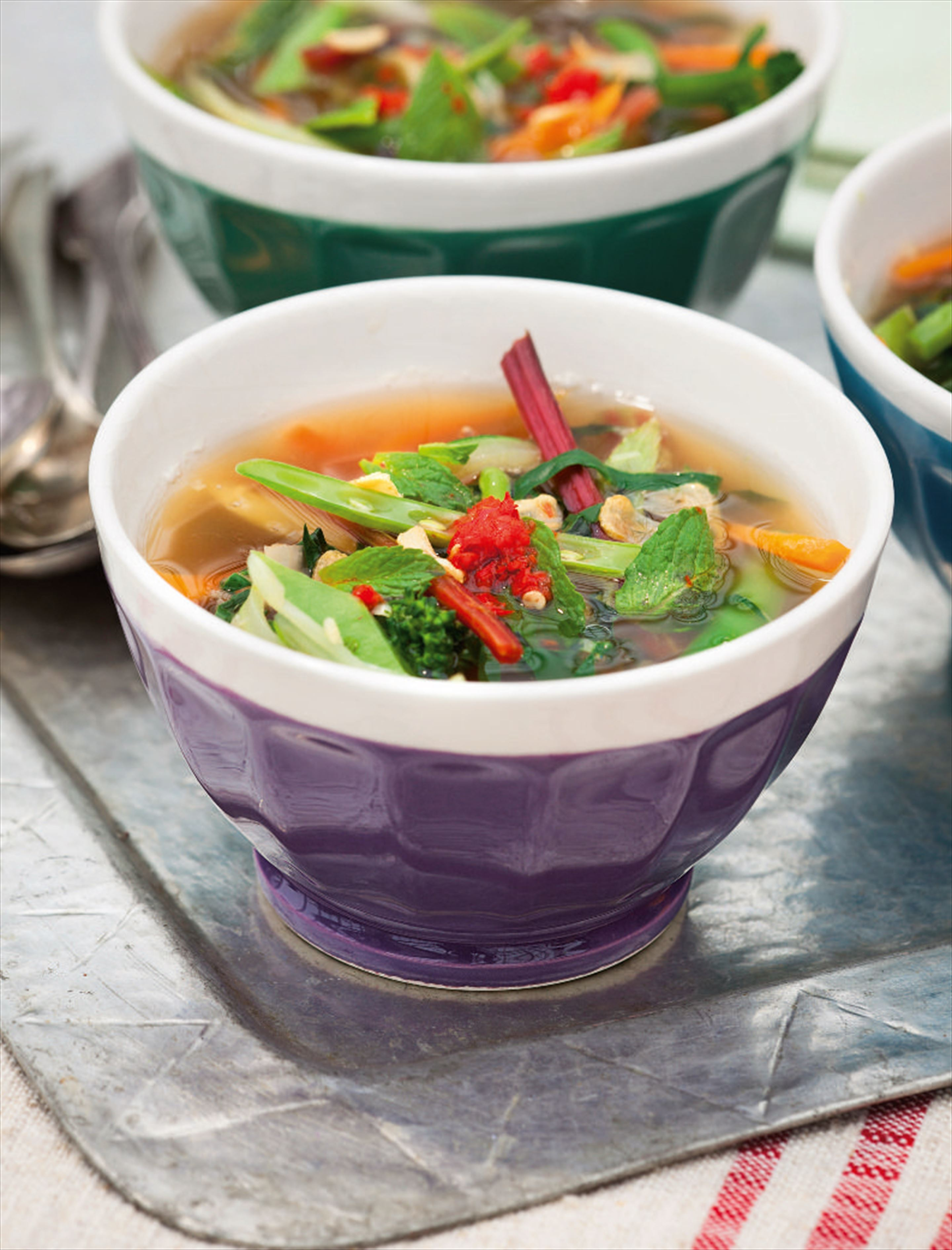 Thai-style vegetable broth with soba noodles