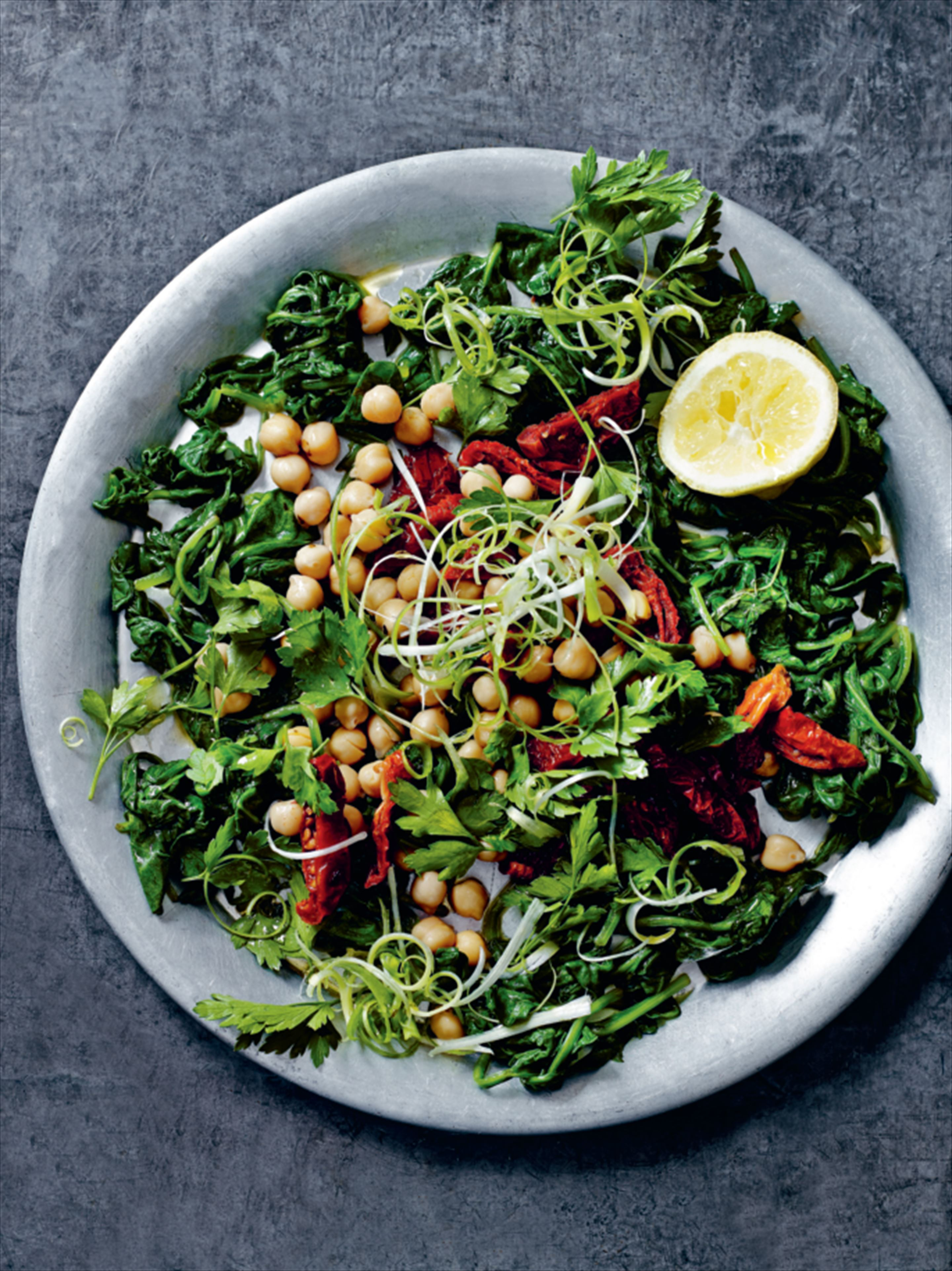 Herbed chickpea salad with sun-dried tomatoes and spinach