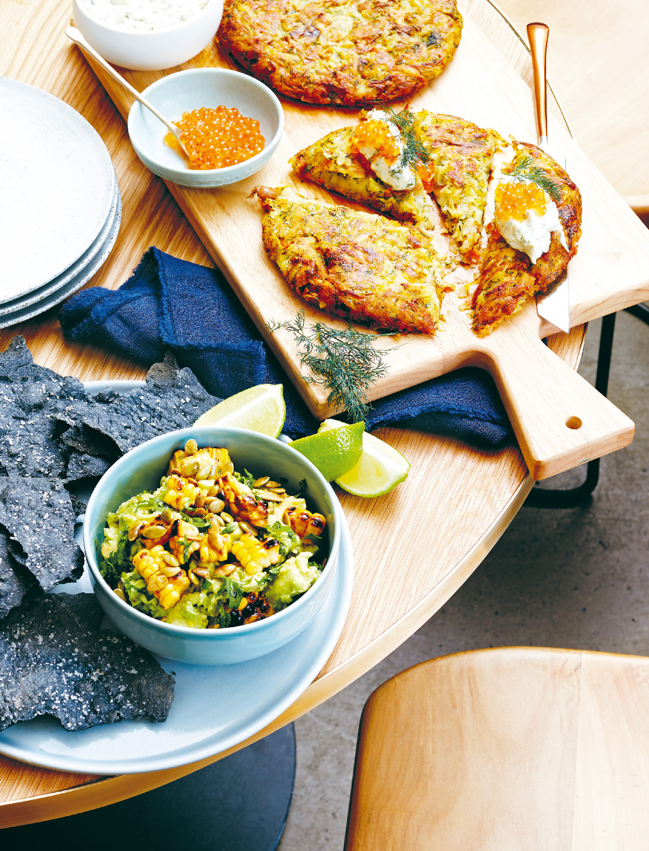 Guacamole with chargrilled corn salsa