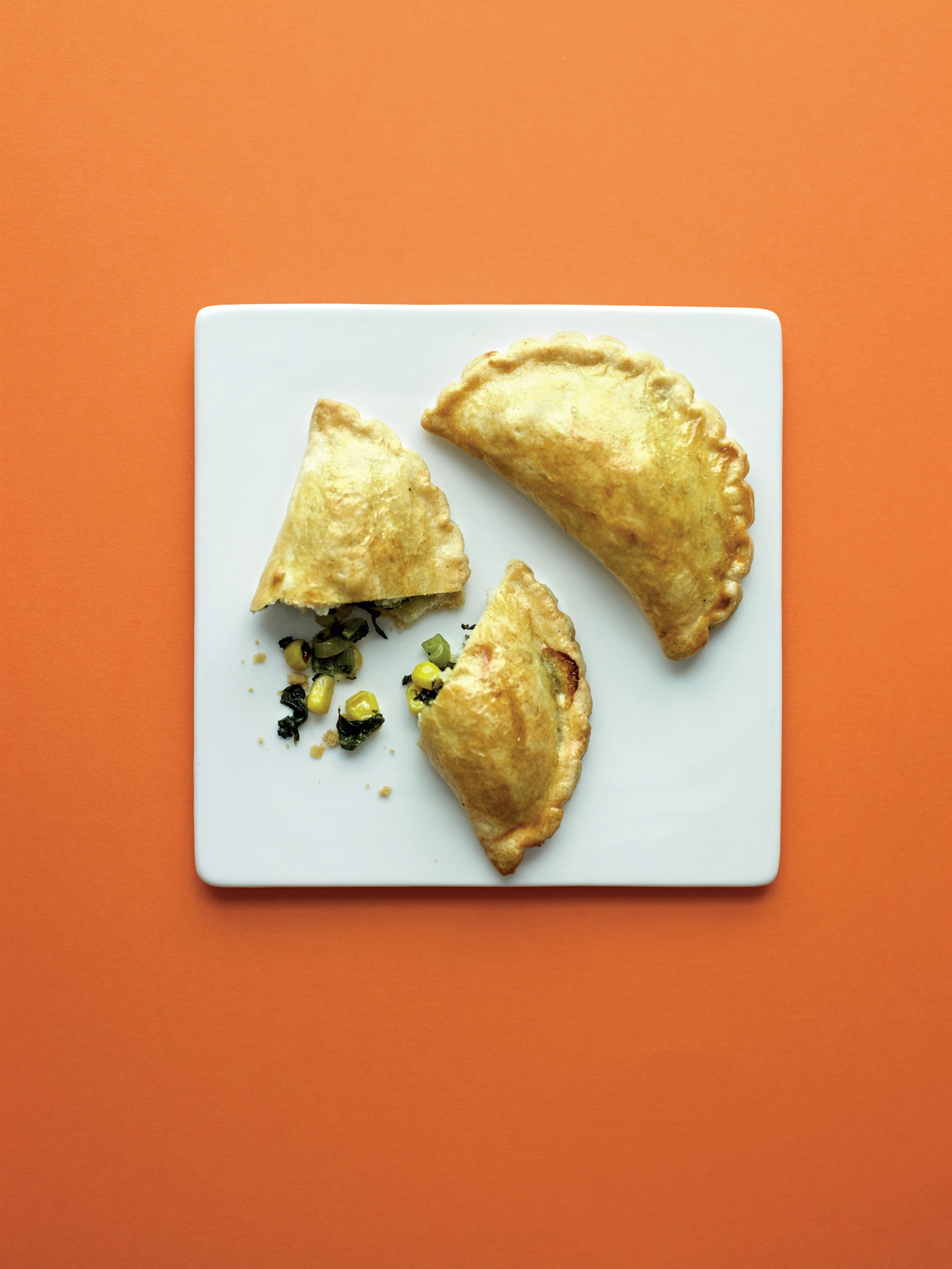Corn, spinach and chilli empanadas