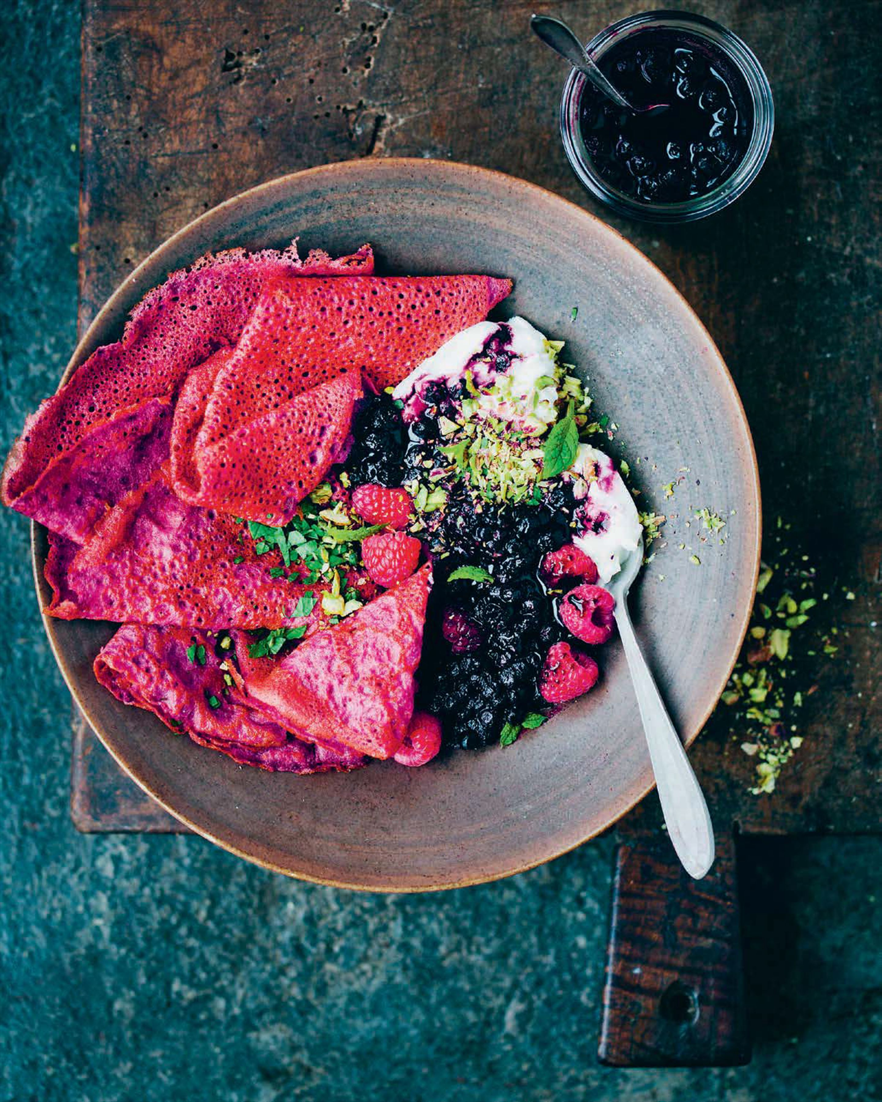 Beetroot crepes with warm blueberry compote and yoghurt