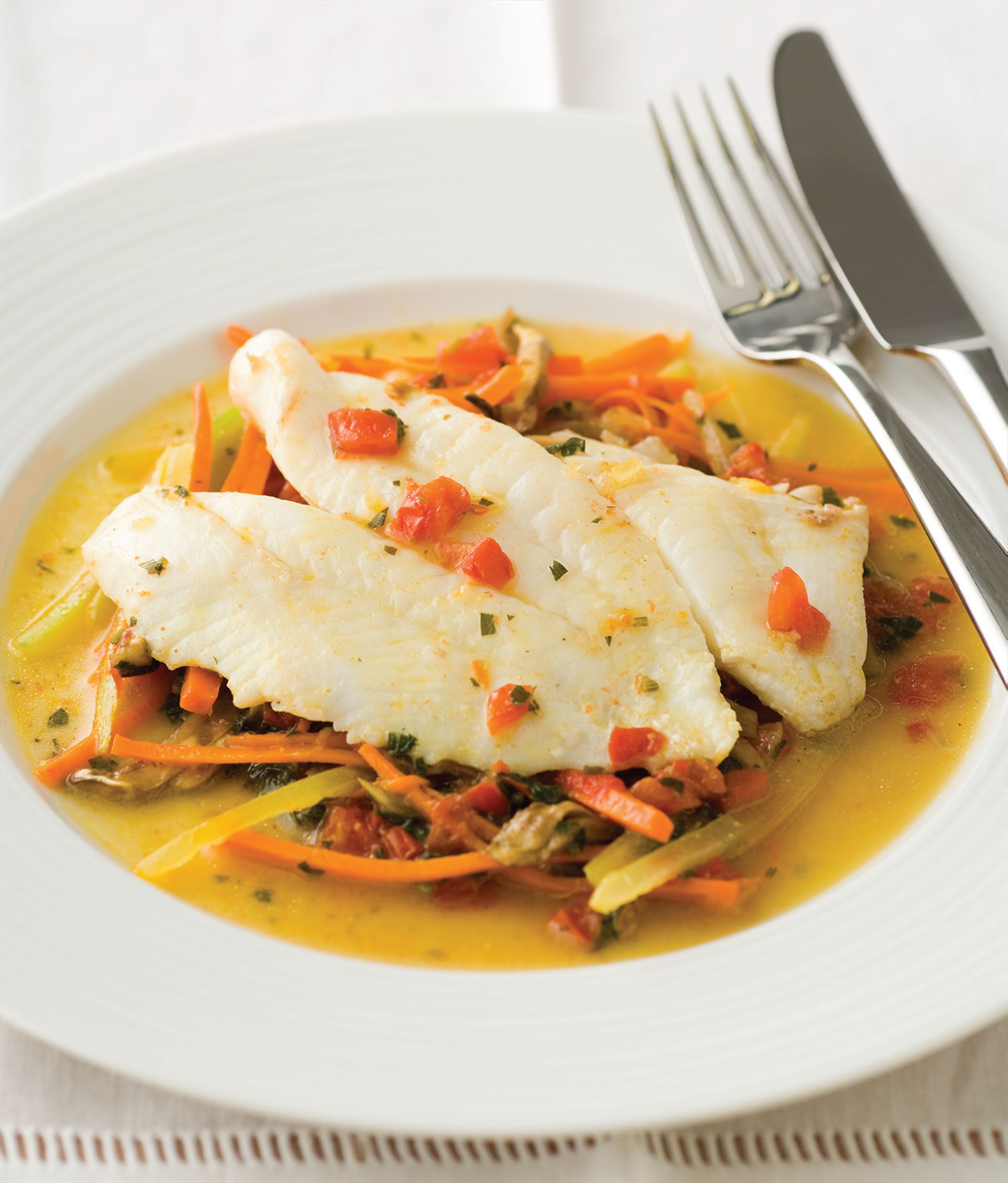 Steamed John Dory with a vegetable julienne