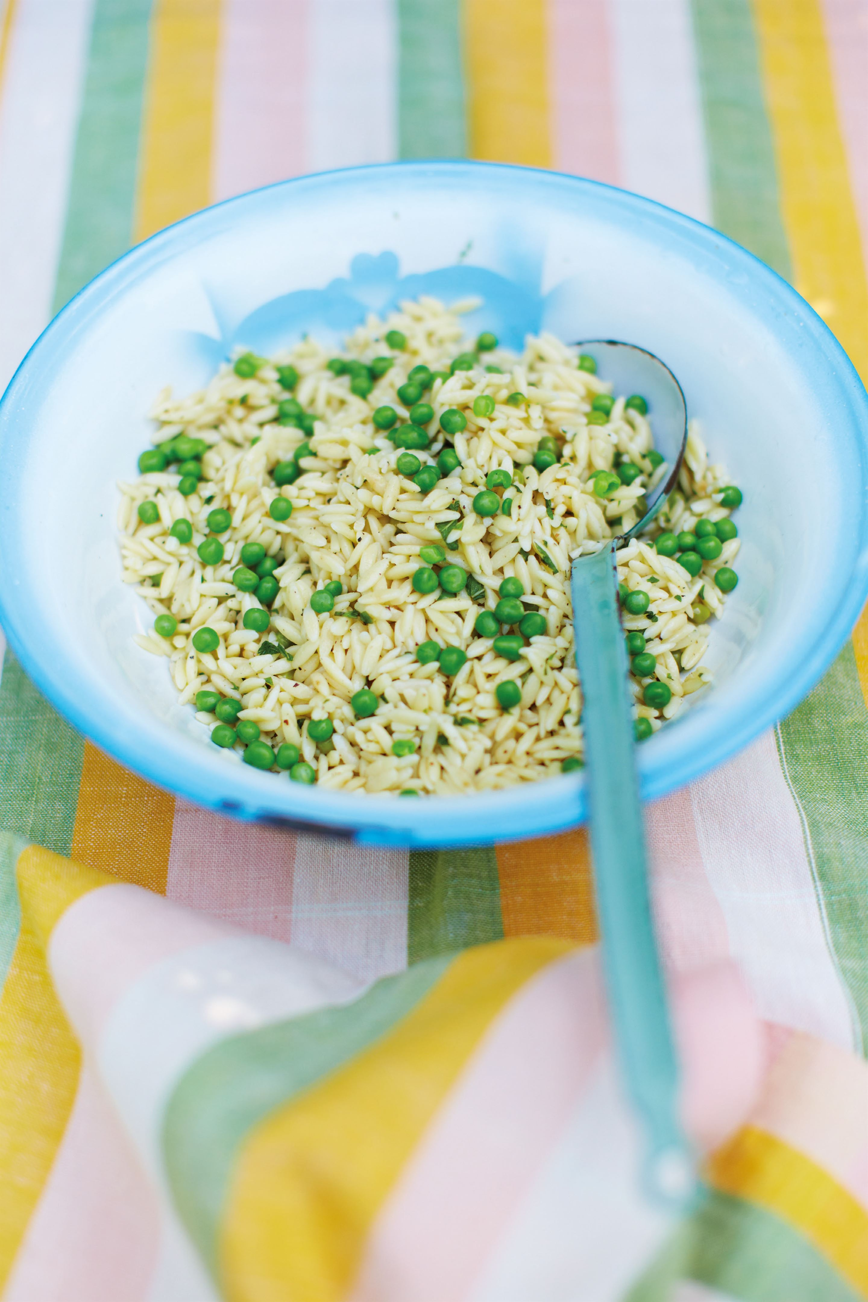 Orzo and minted pea pasta salad