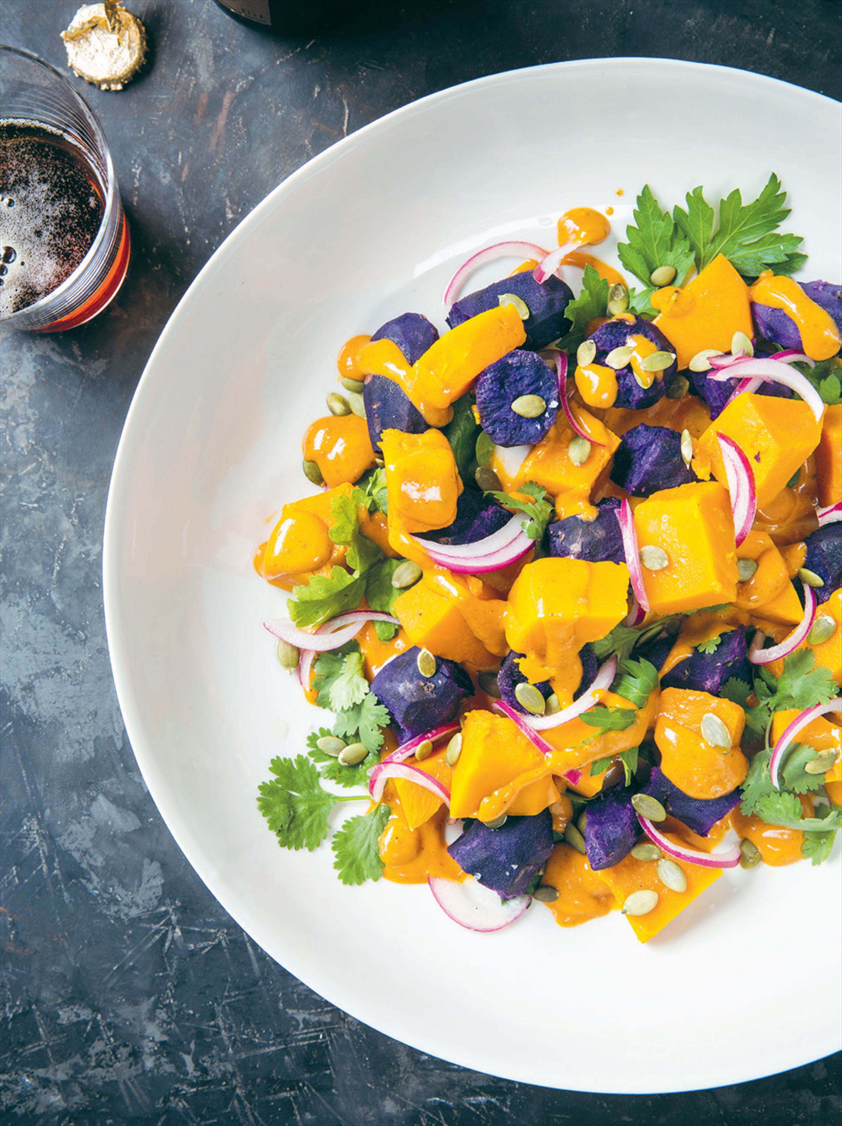 Peruvian purple potato & pumpkin salad