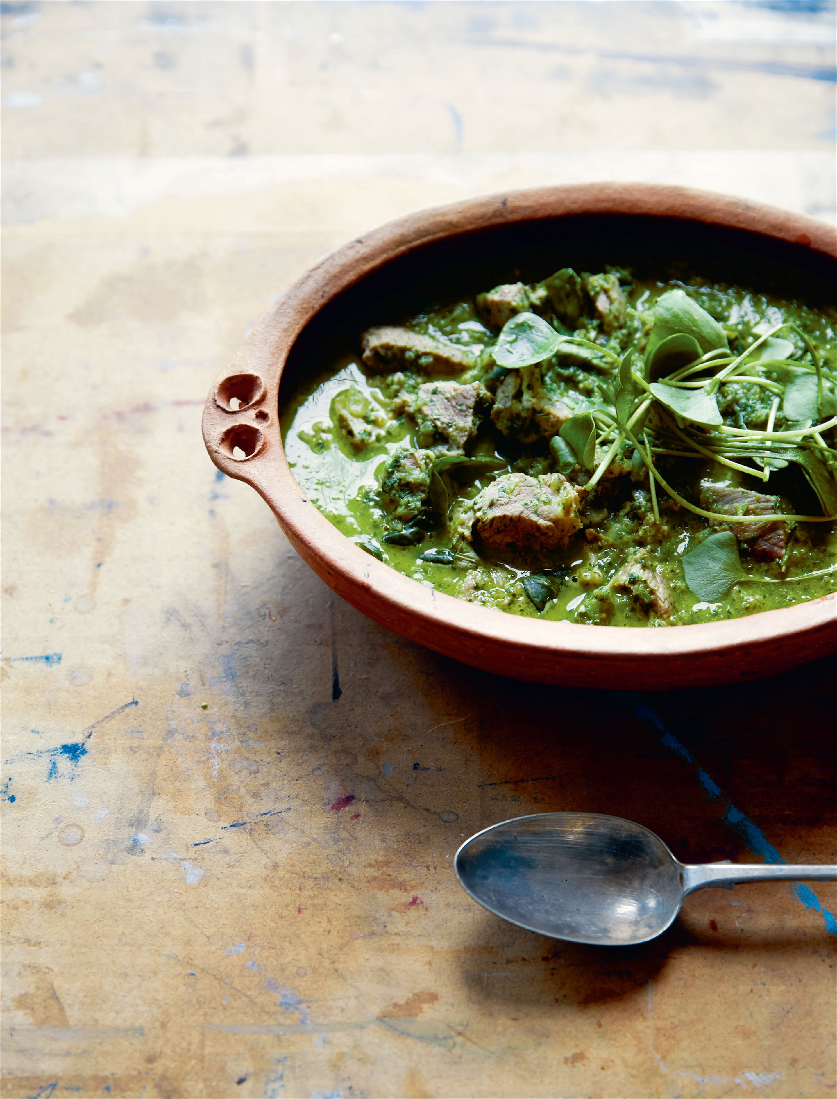 Pork and purslane stew