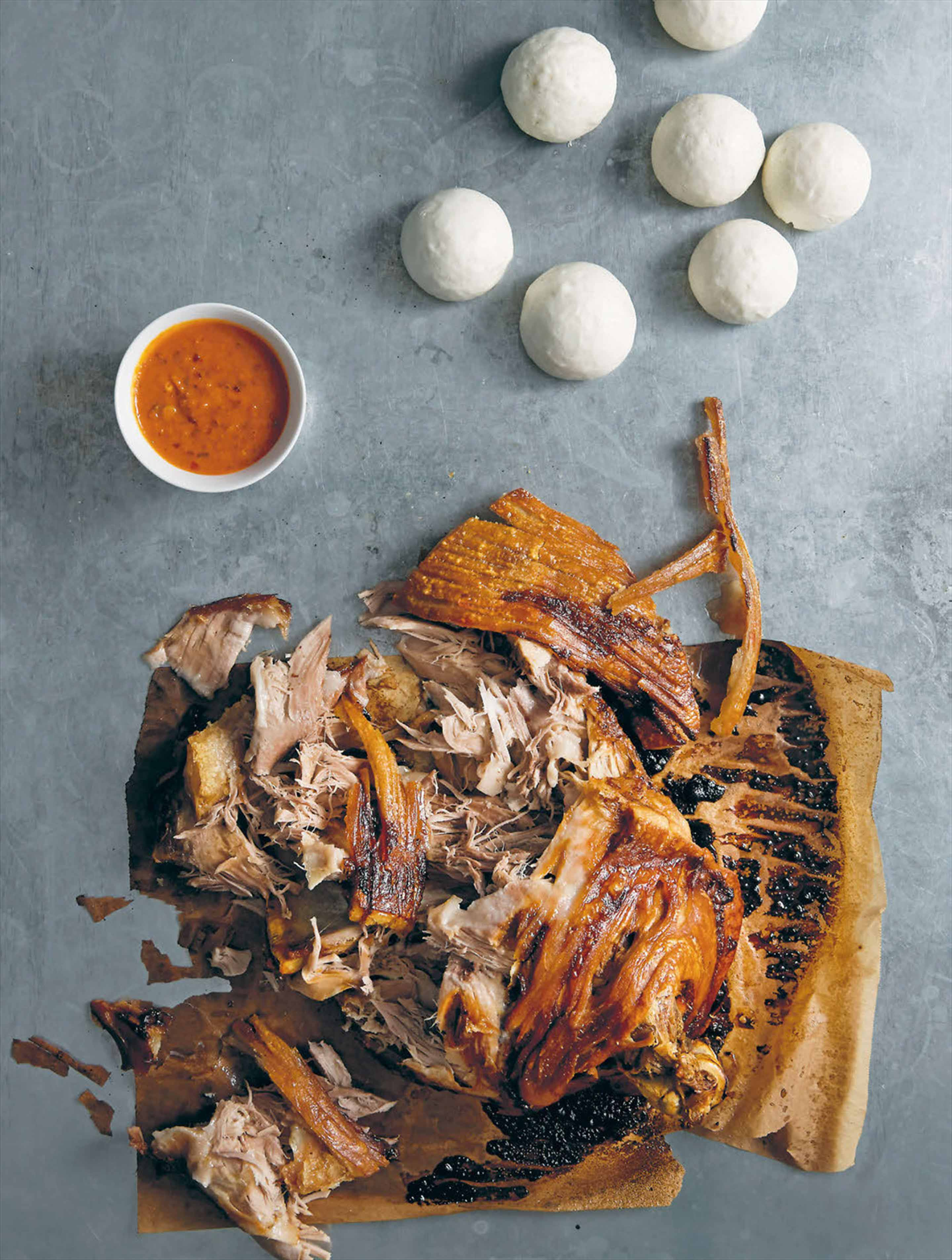 Roast pork shoulder, pickled cabbage, crackling, ssamjang