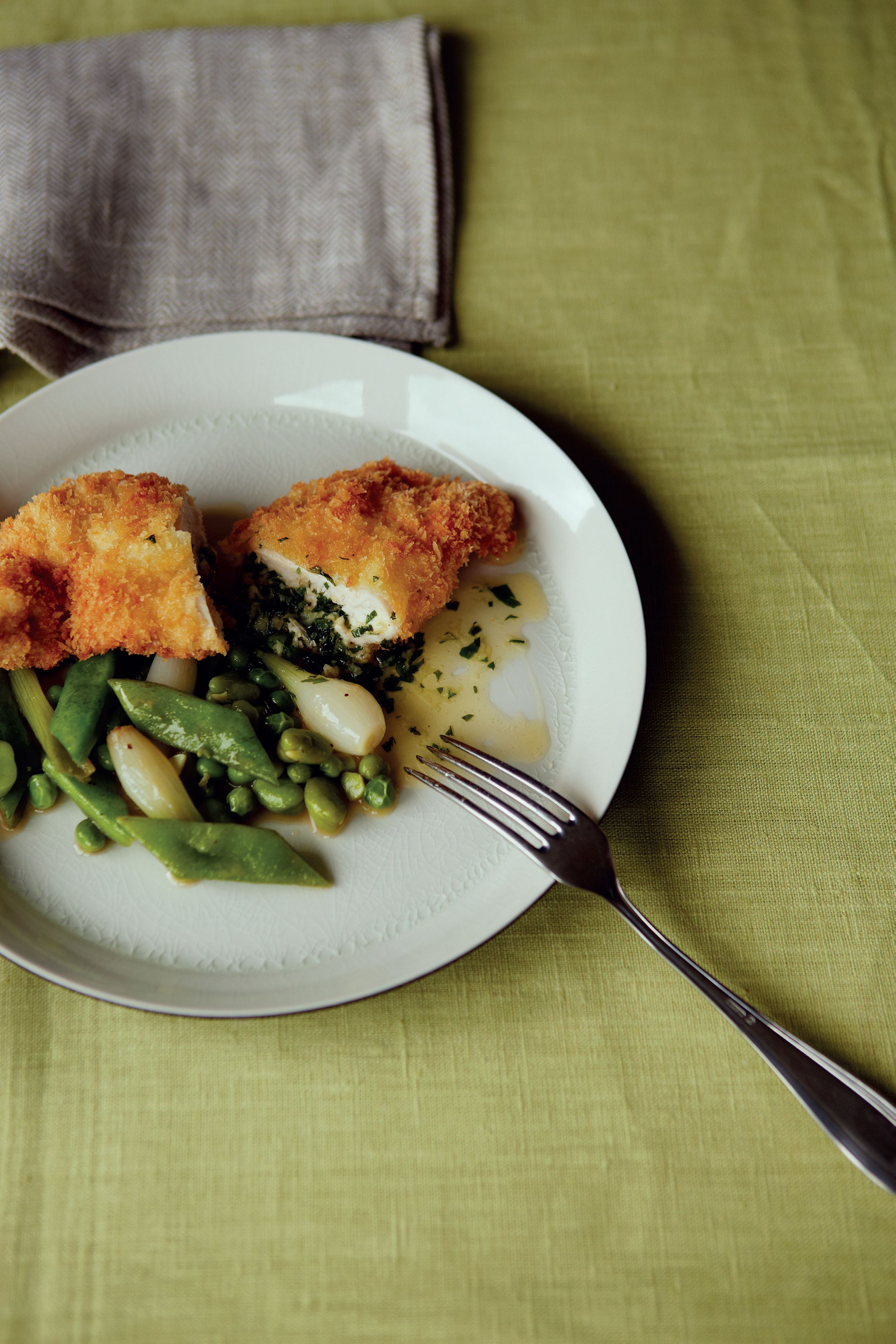 Classic chicken kiev with bean ragoût