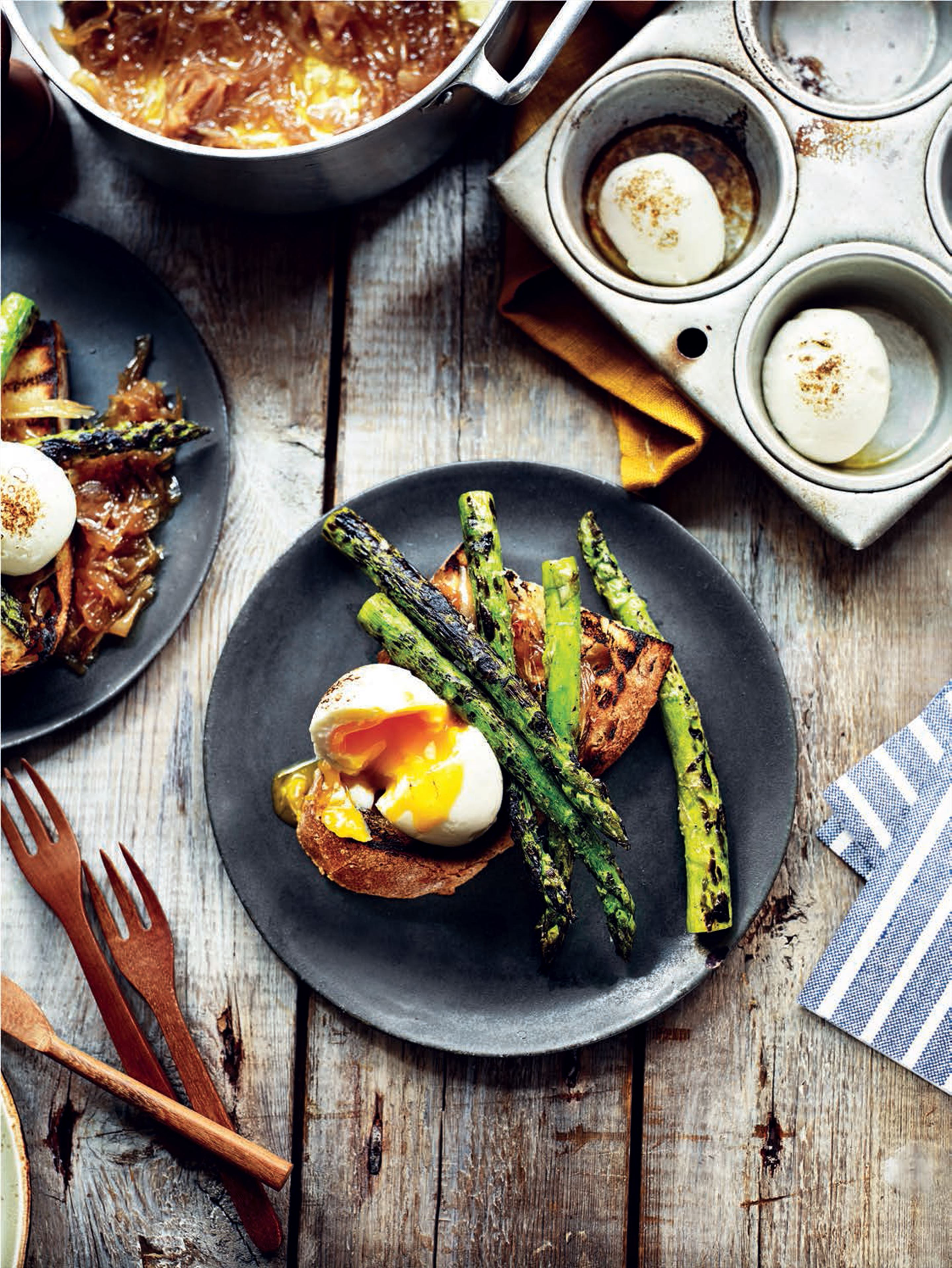Smoky eggs with asparagus and sweet shallots on sourdough