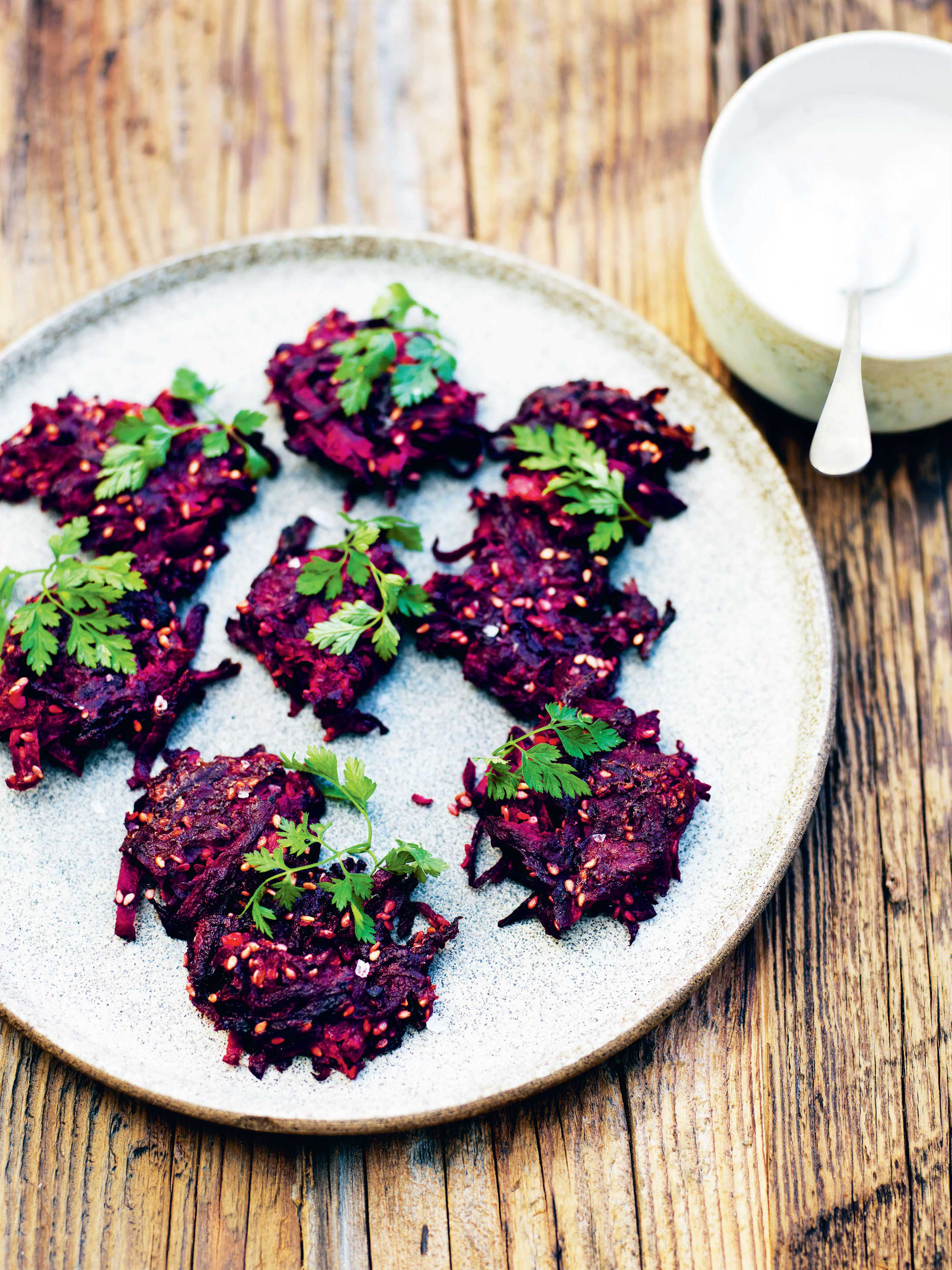 Beetroot patties with horseradish cream