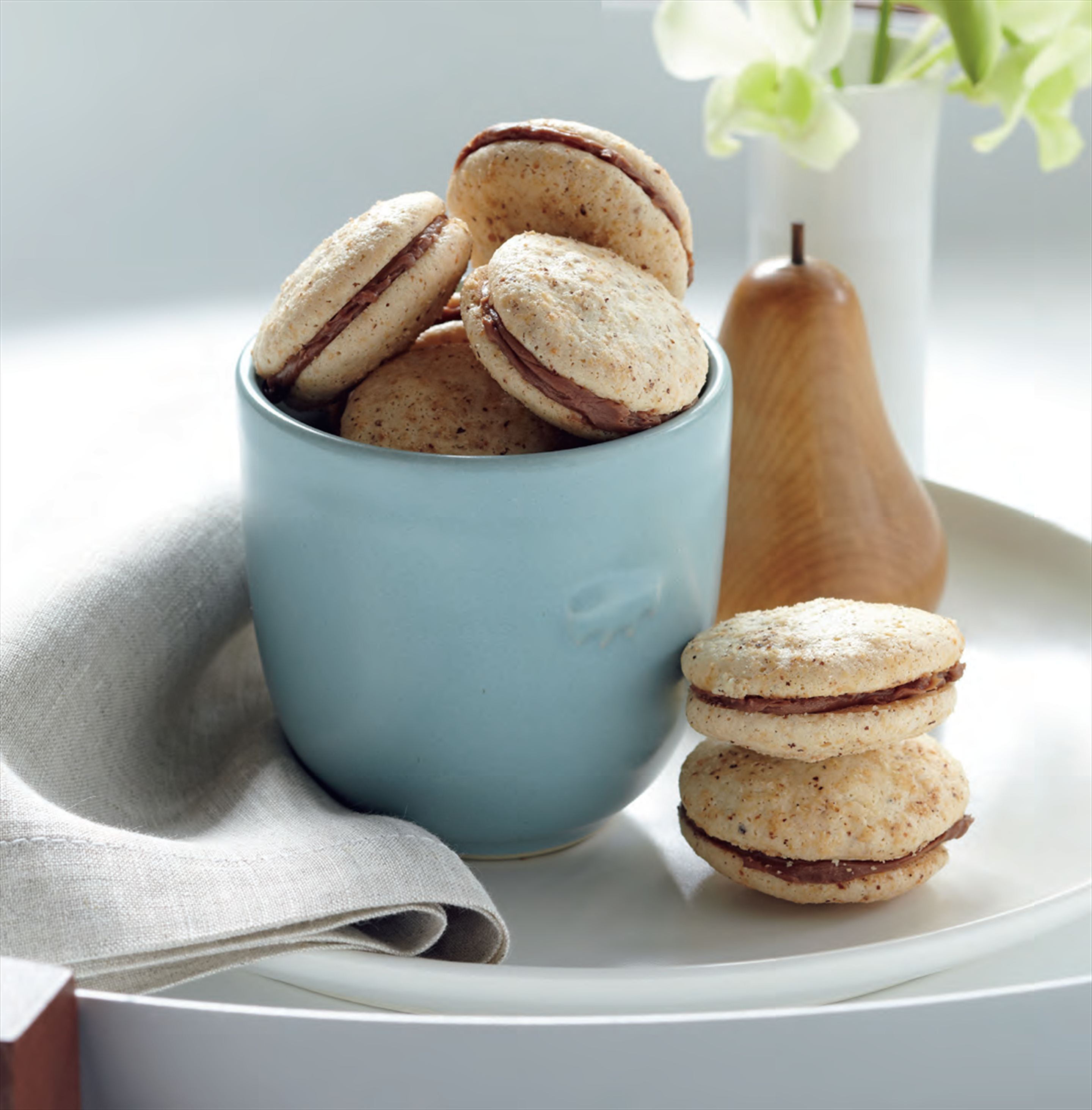 Hazelnut macarons with chocolate and Frangelico