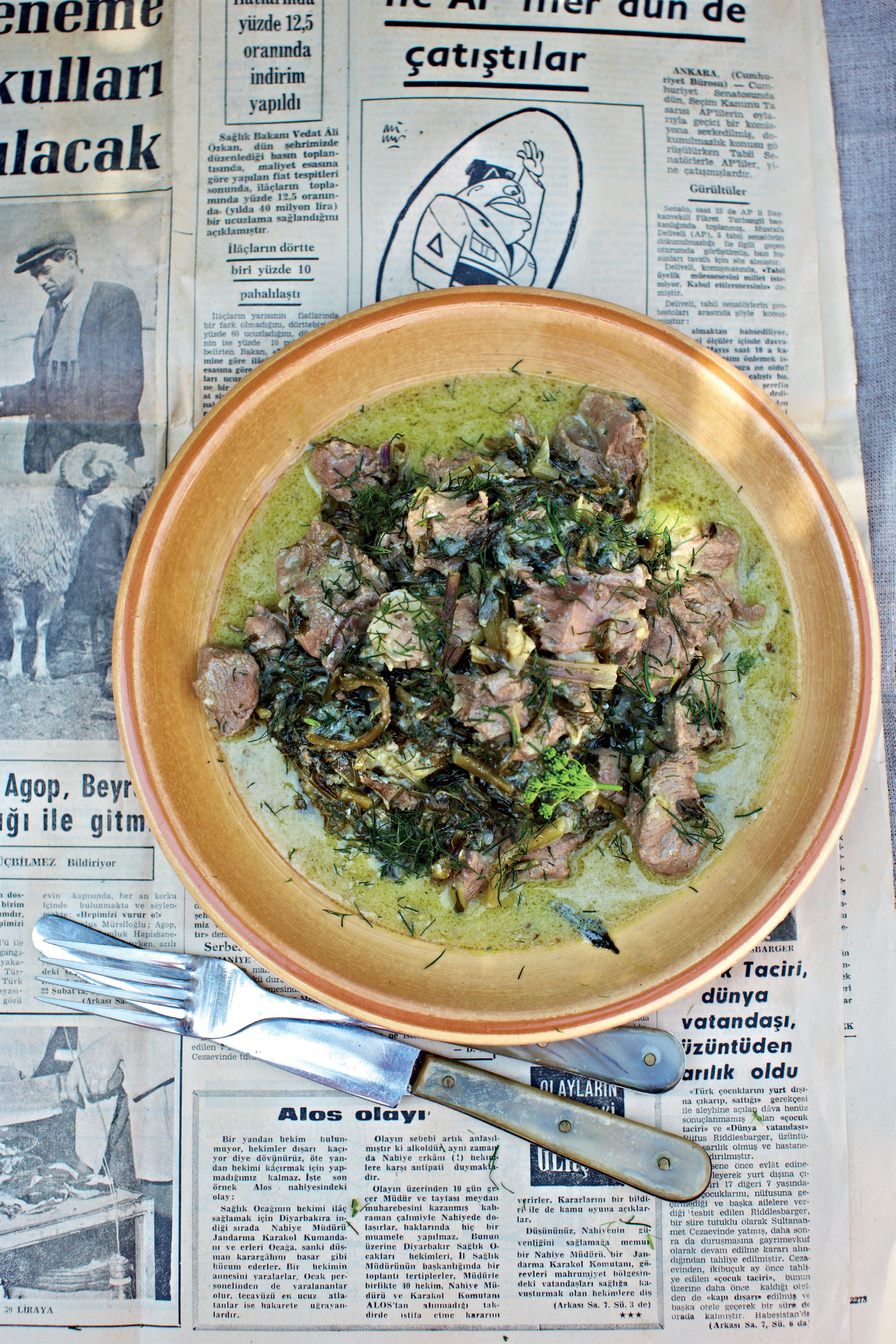 Lamb stew with wild greens and egg-lemon sauce