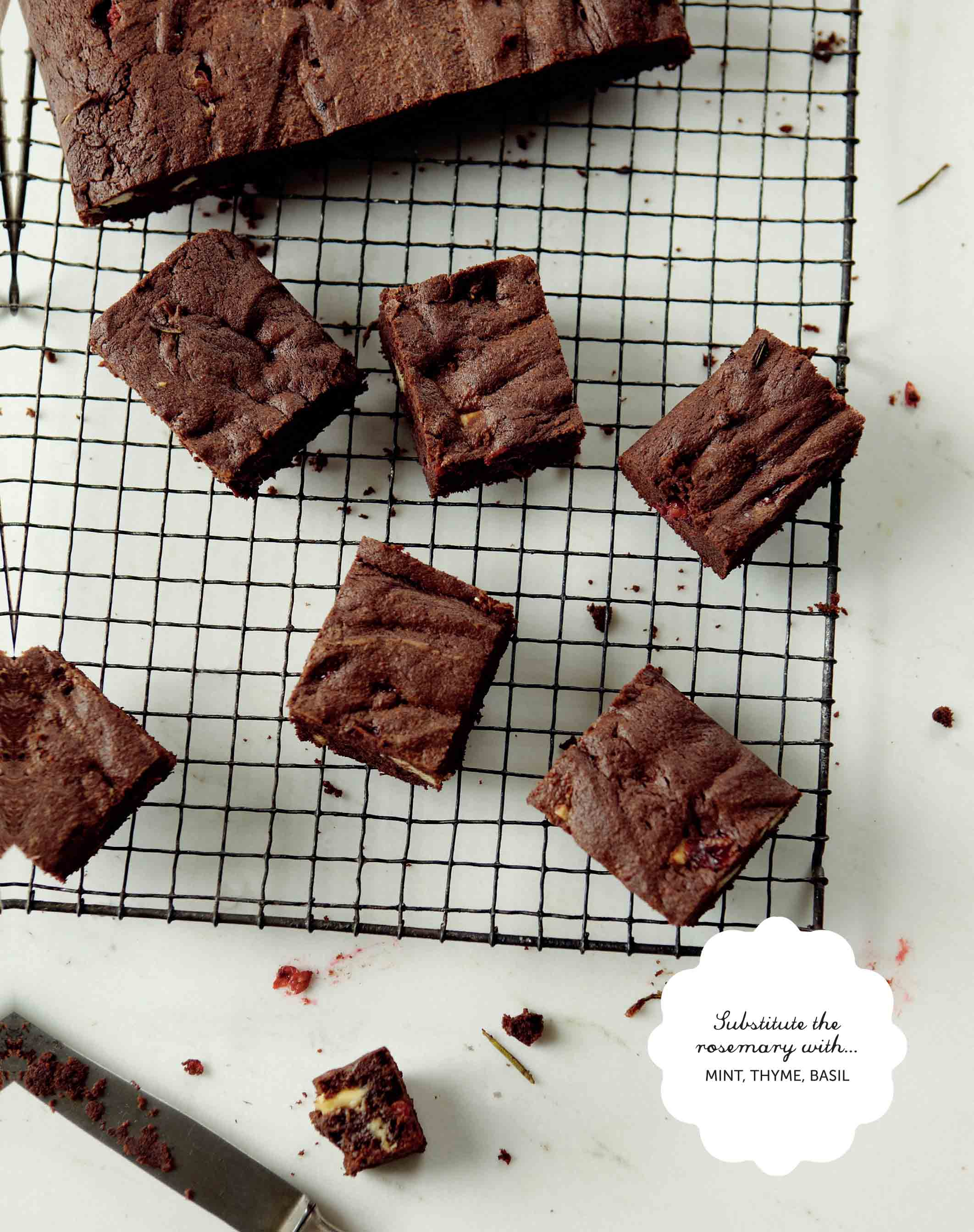 Redcurrant and rosemary double chocolate brownies