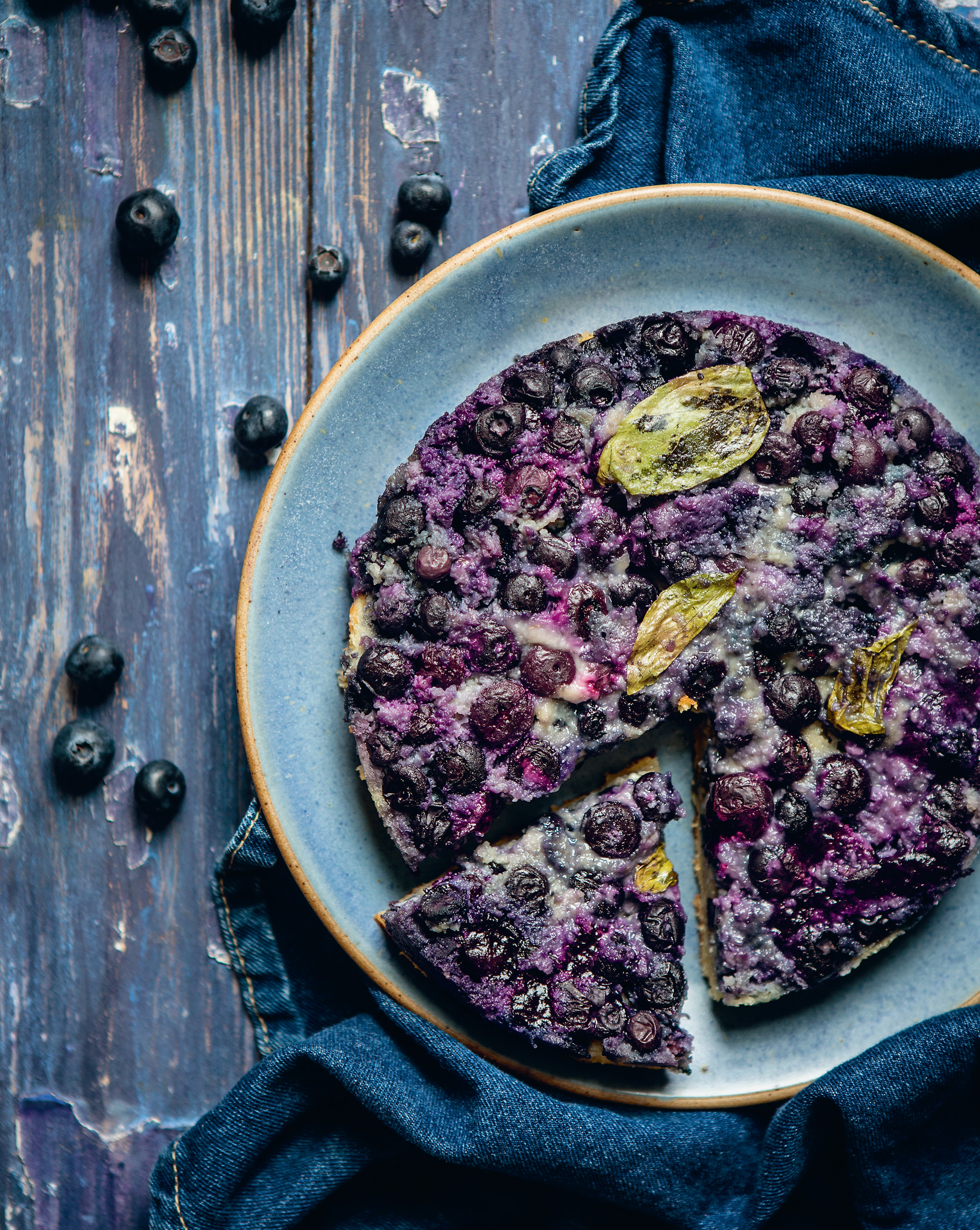 Blueberry, basil + almond pudding pie