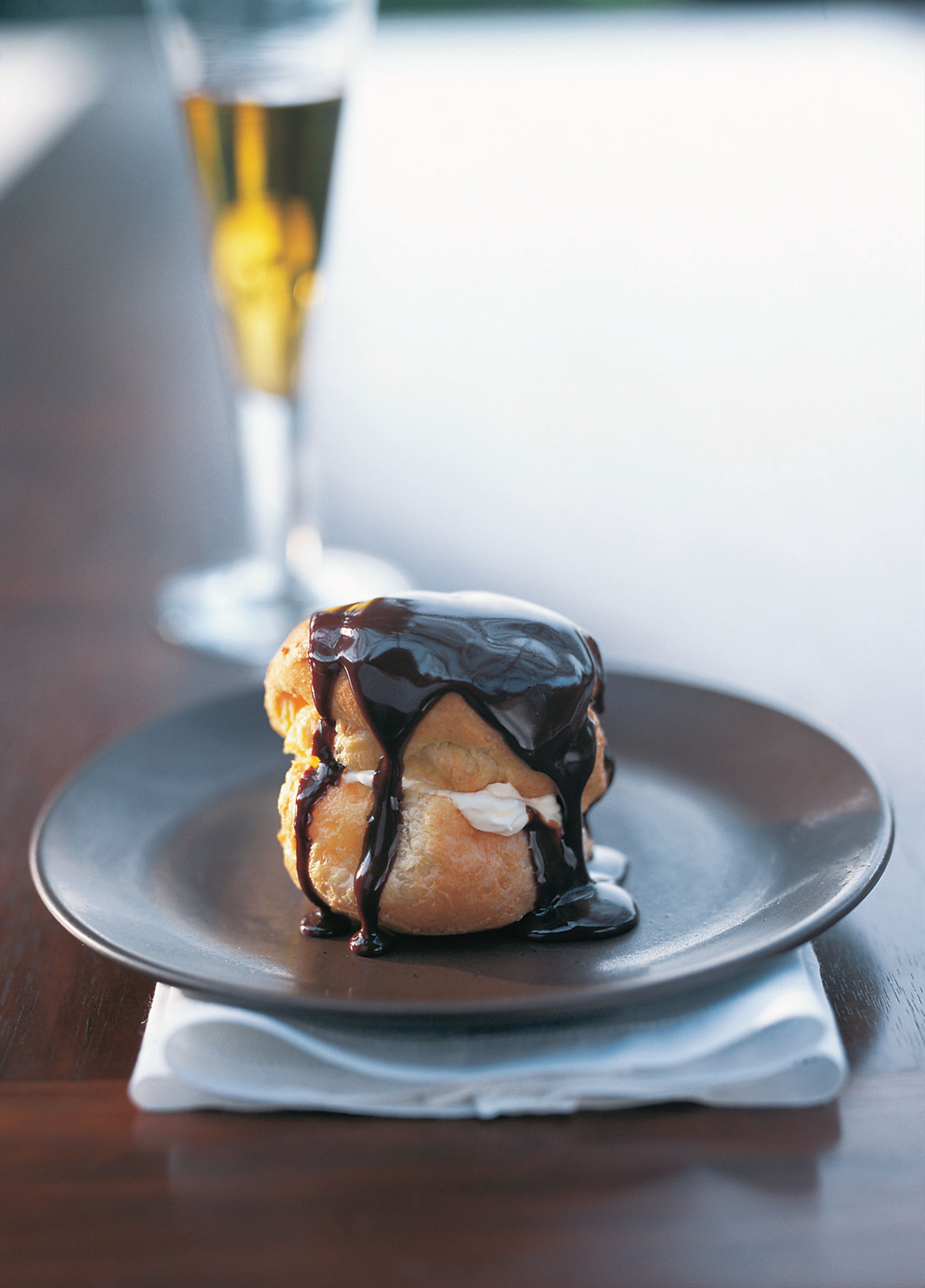 Profiteroles with chocolate sauce