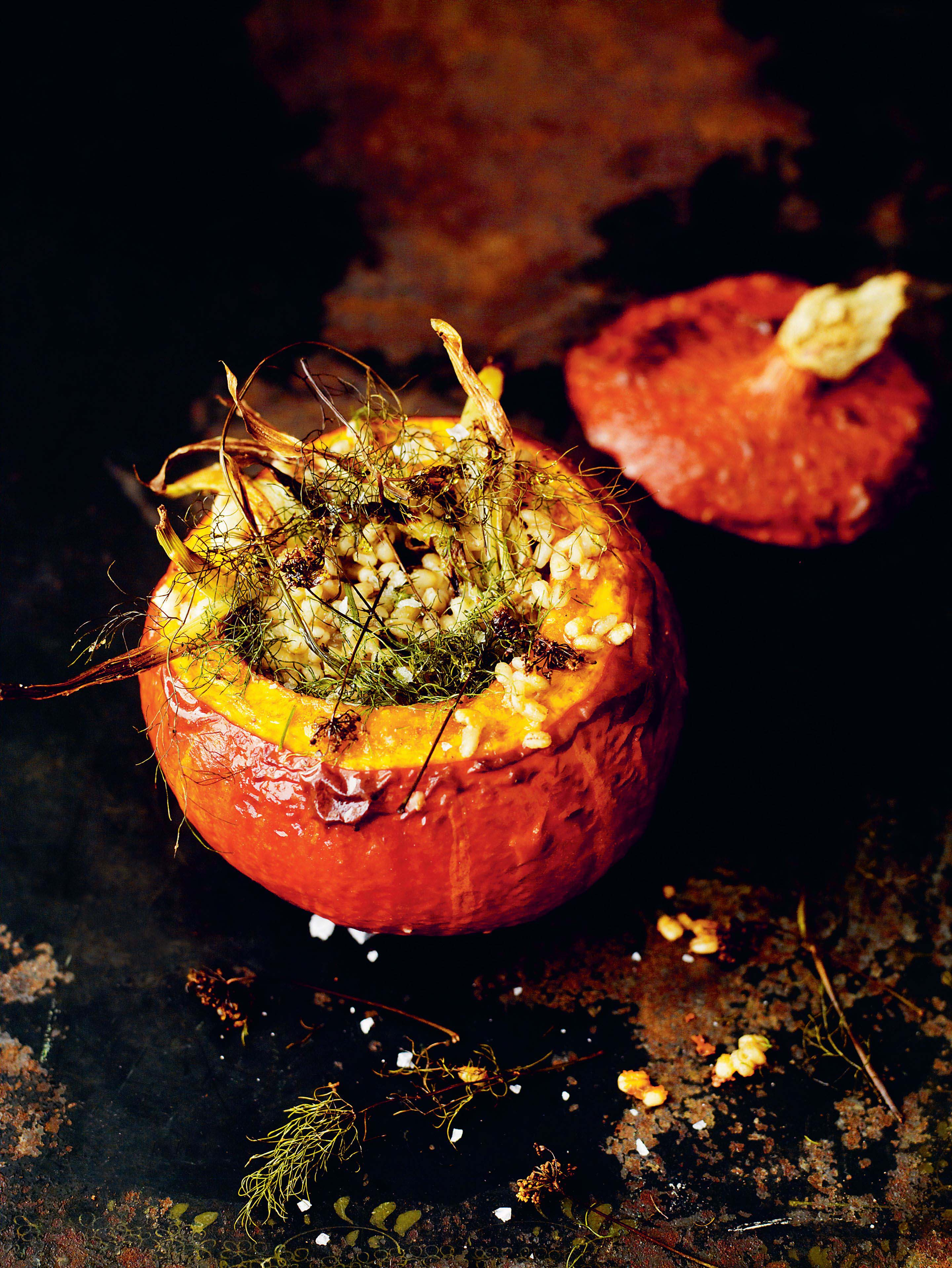 Stuffed squash with fennel & barley