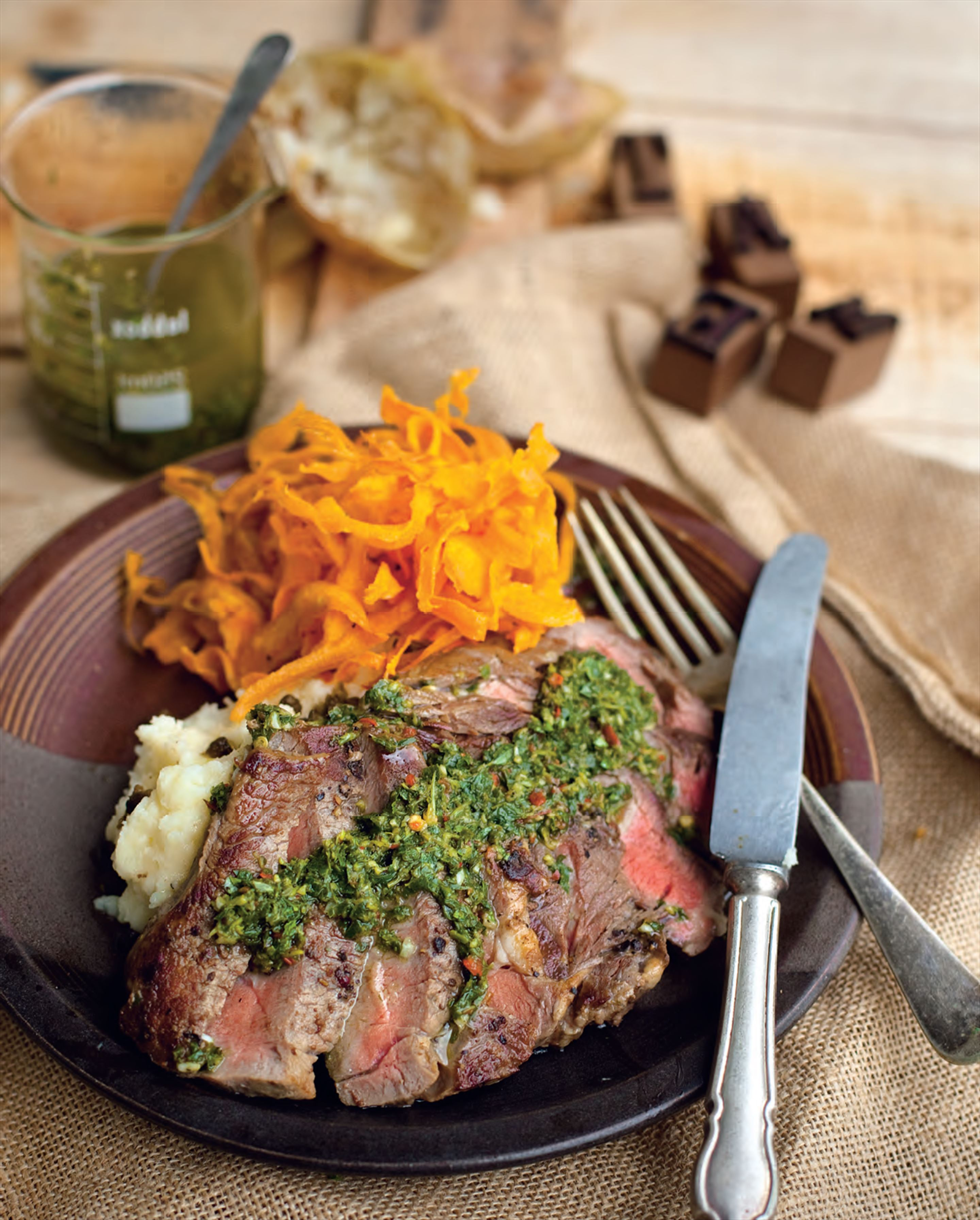 Seared Scotch fillets with chimichurri sauce & sweet potato chips