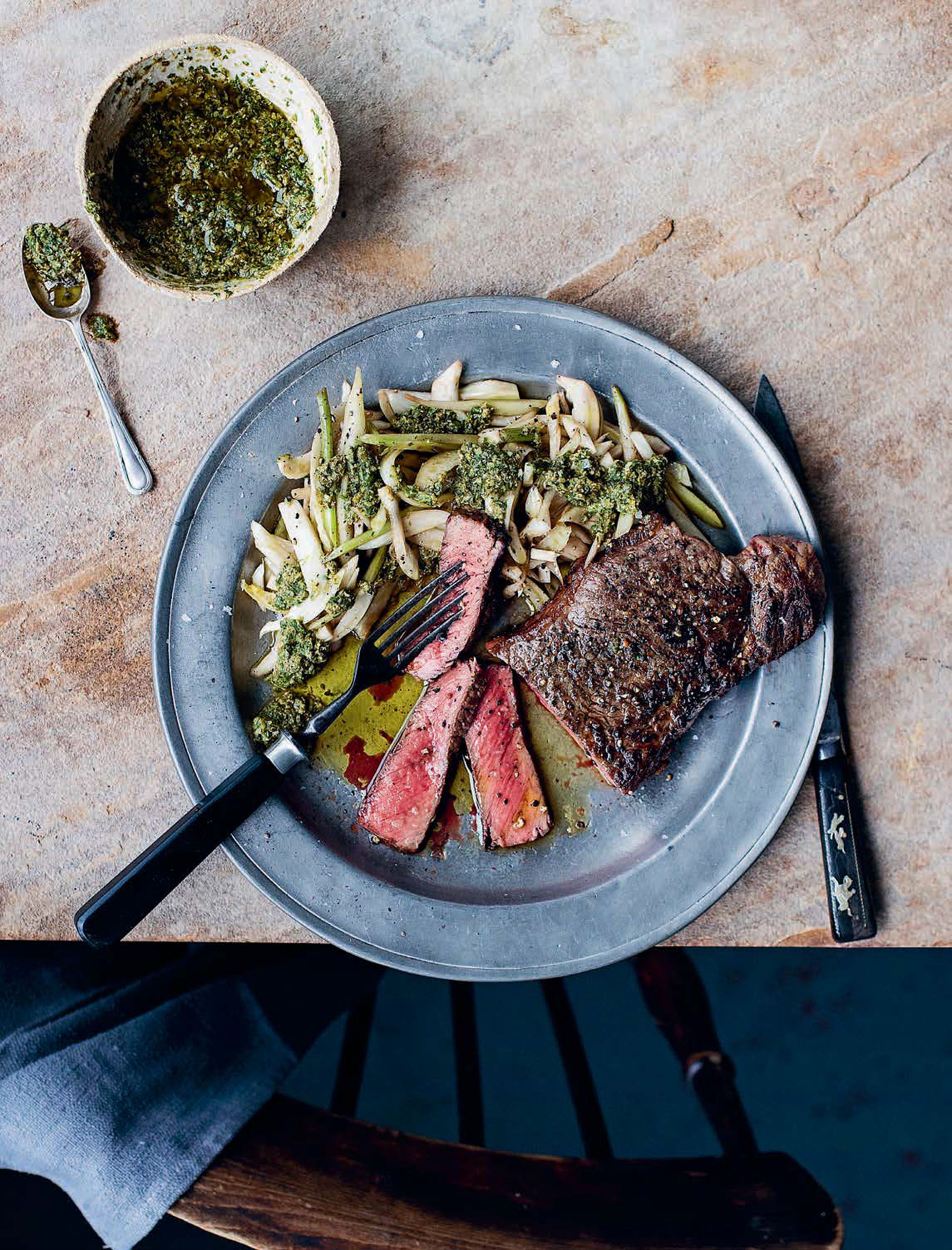 Steak with salsa verde and shredded fennel salad