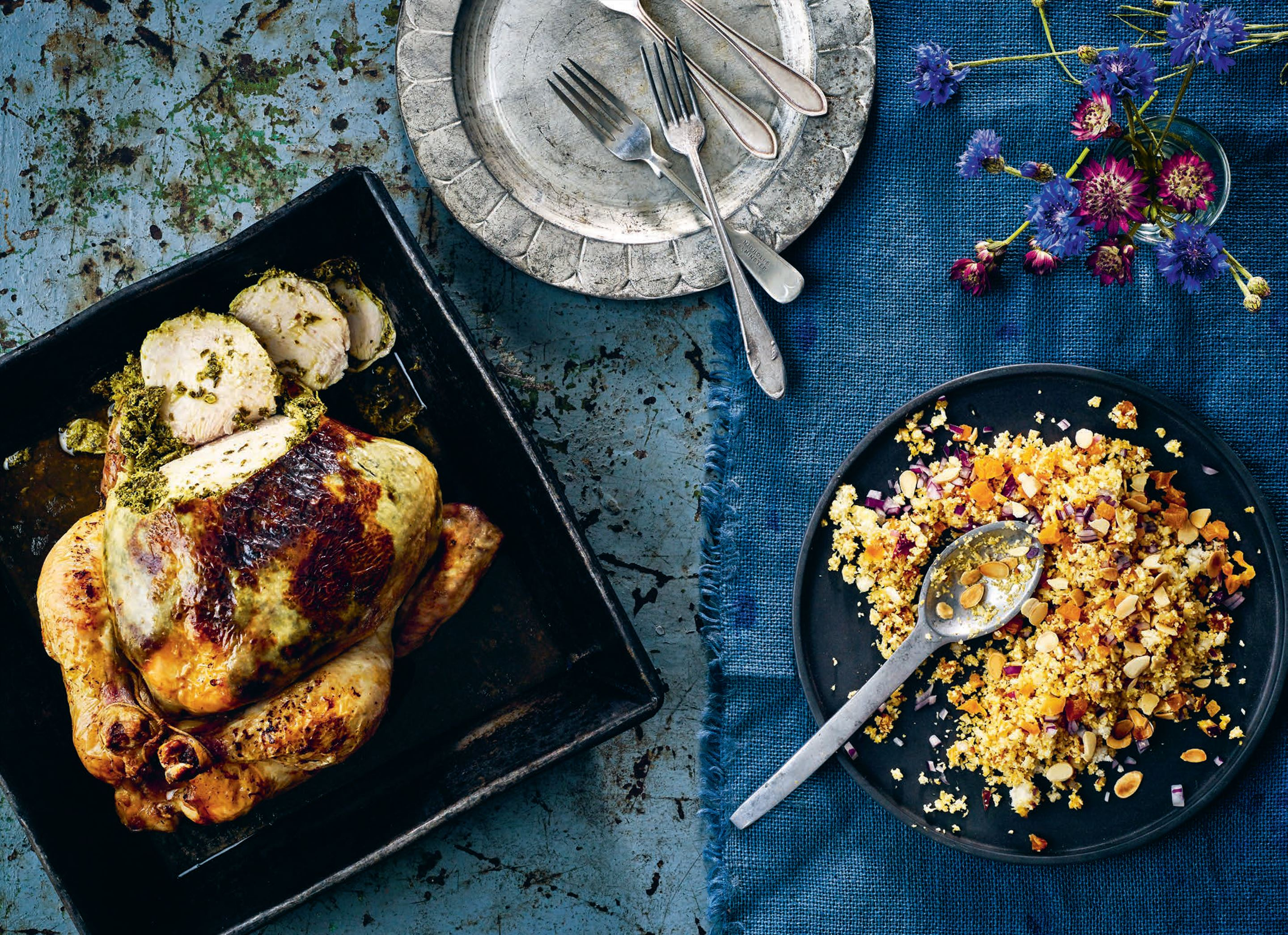 "Kale and lemon-stuffed chicken with cauliflower ""couscous"""