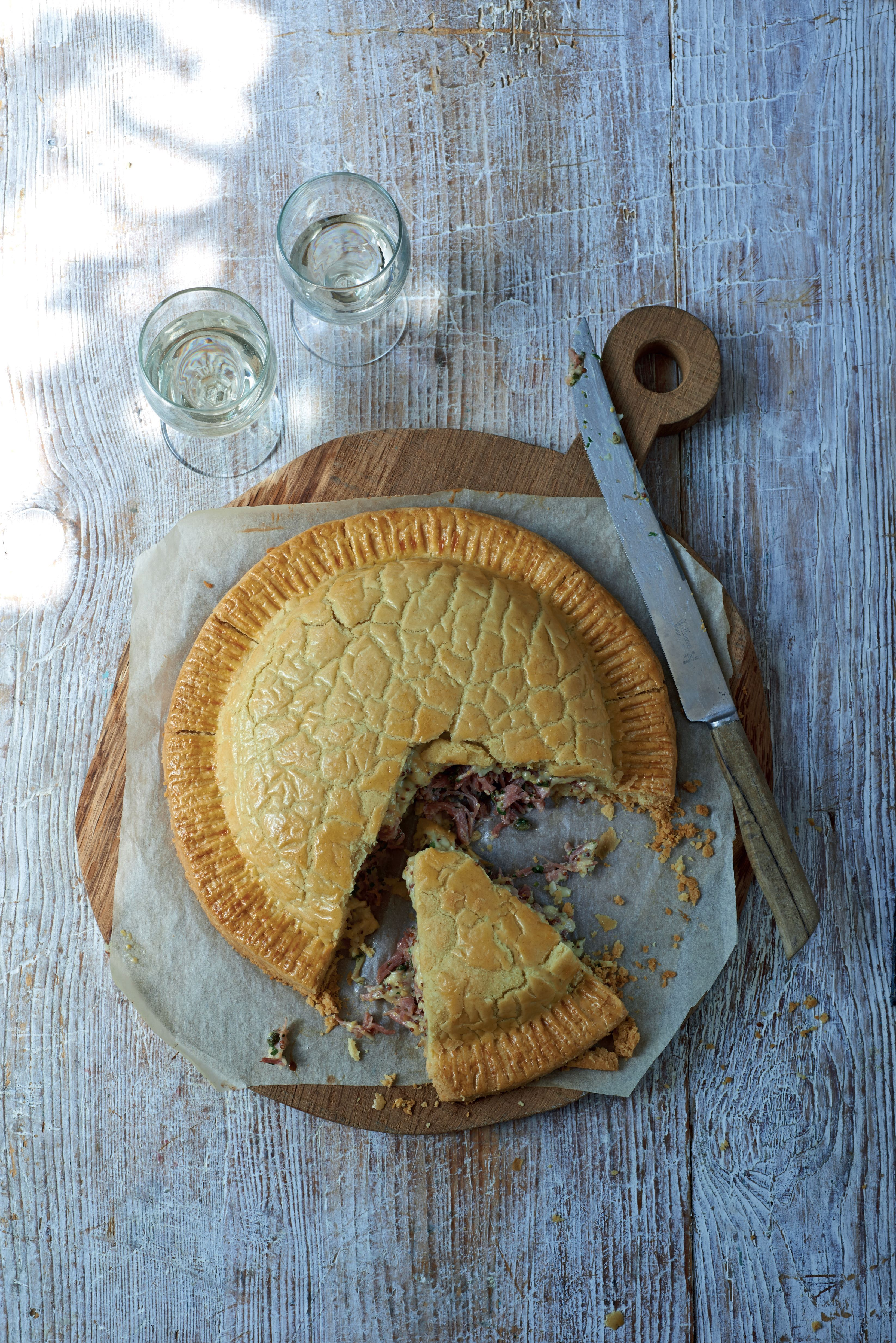 Ham hock, caper and mustard pie