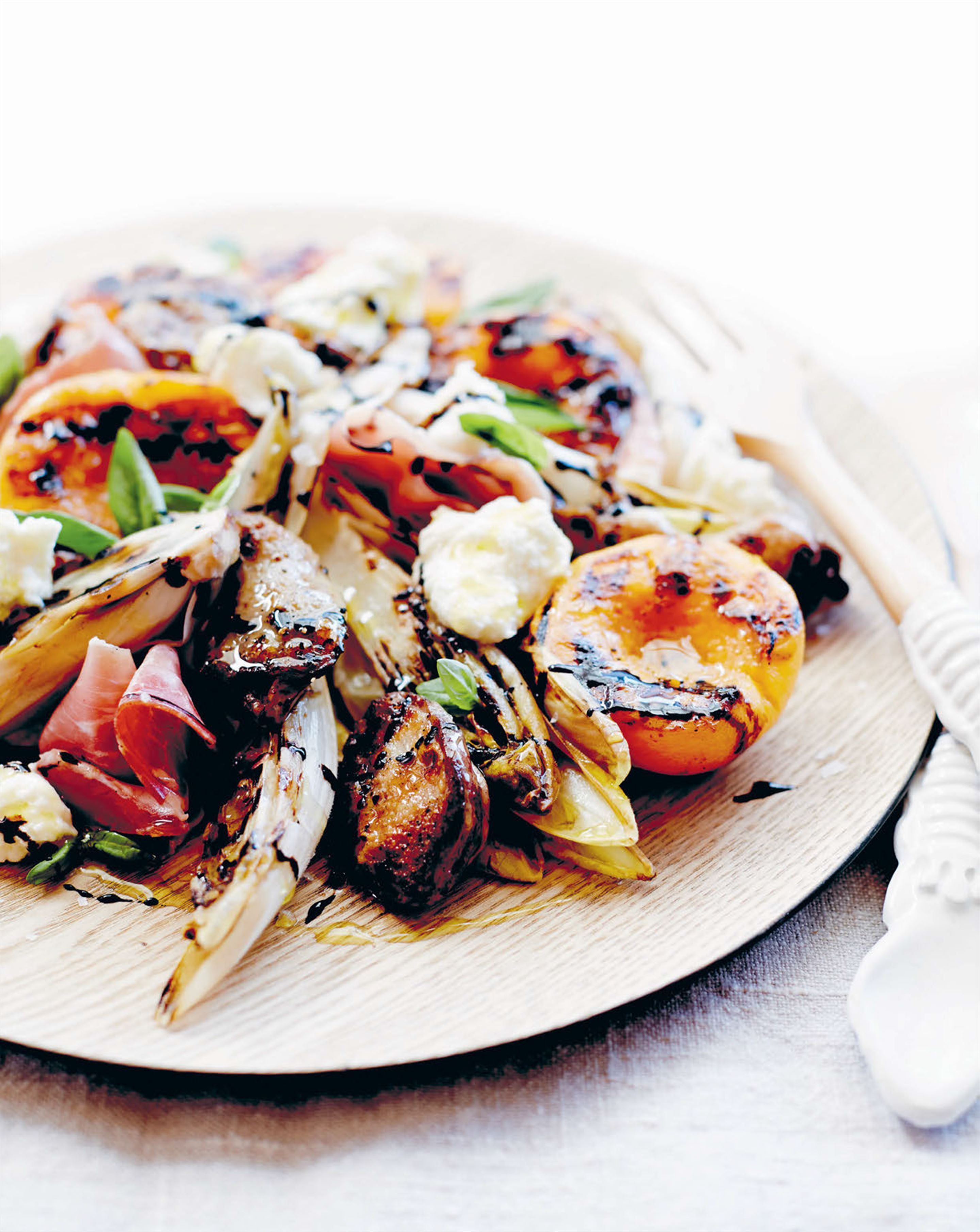 Quail, peach, witlof, prosciutto and buffalo mozzarella salad with balsamic glaze