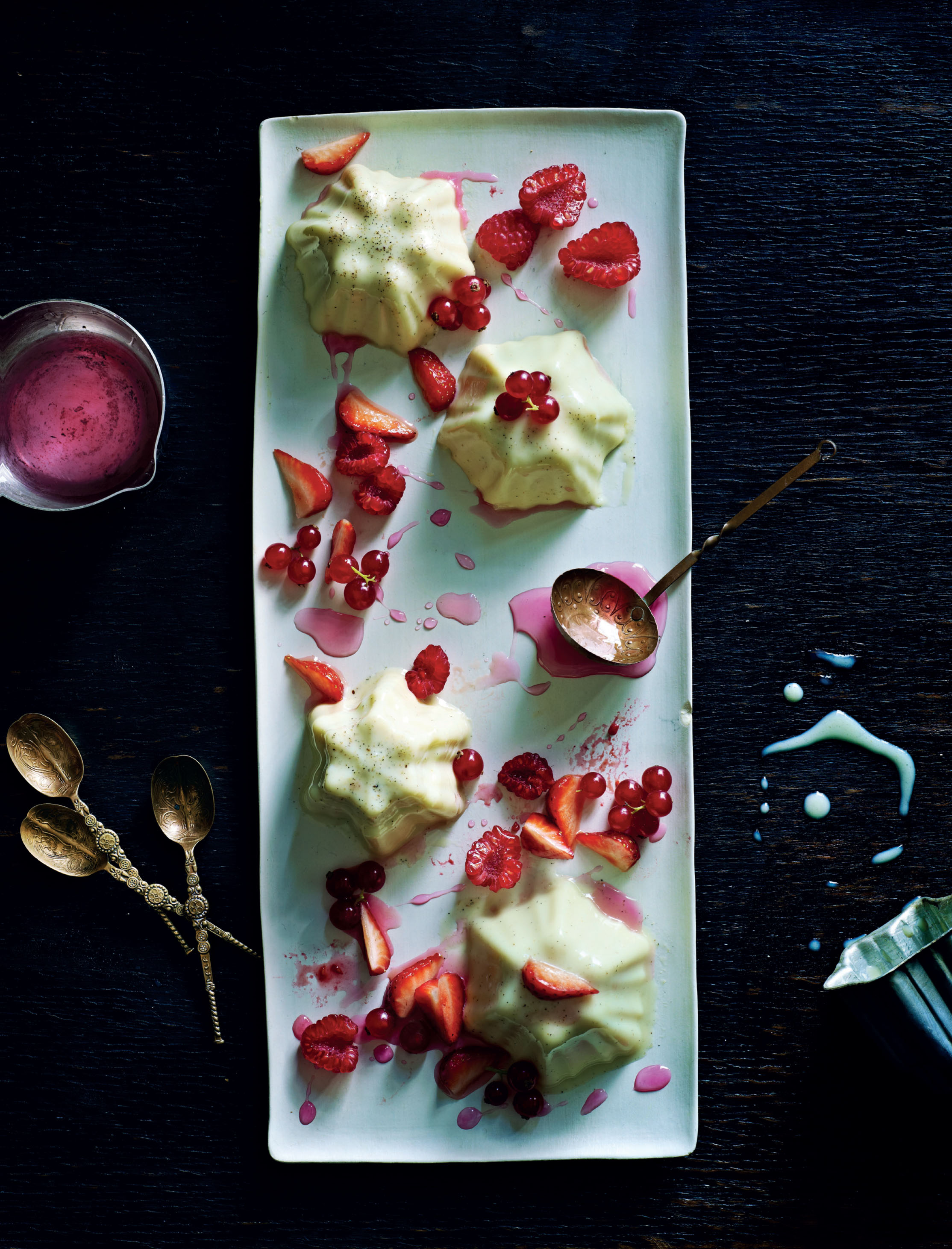 White chocolate, cardamom and rose pannacotta