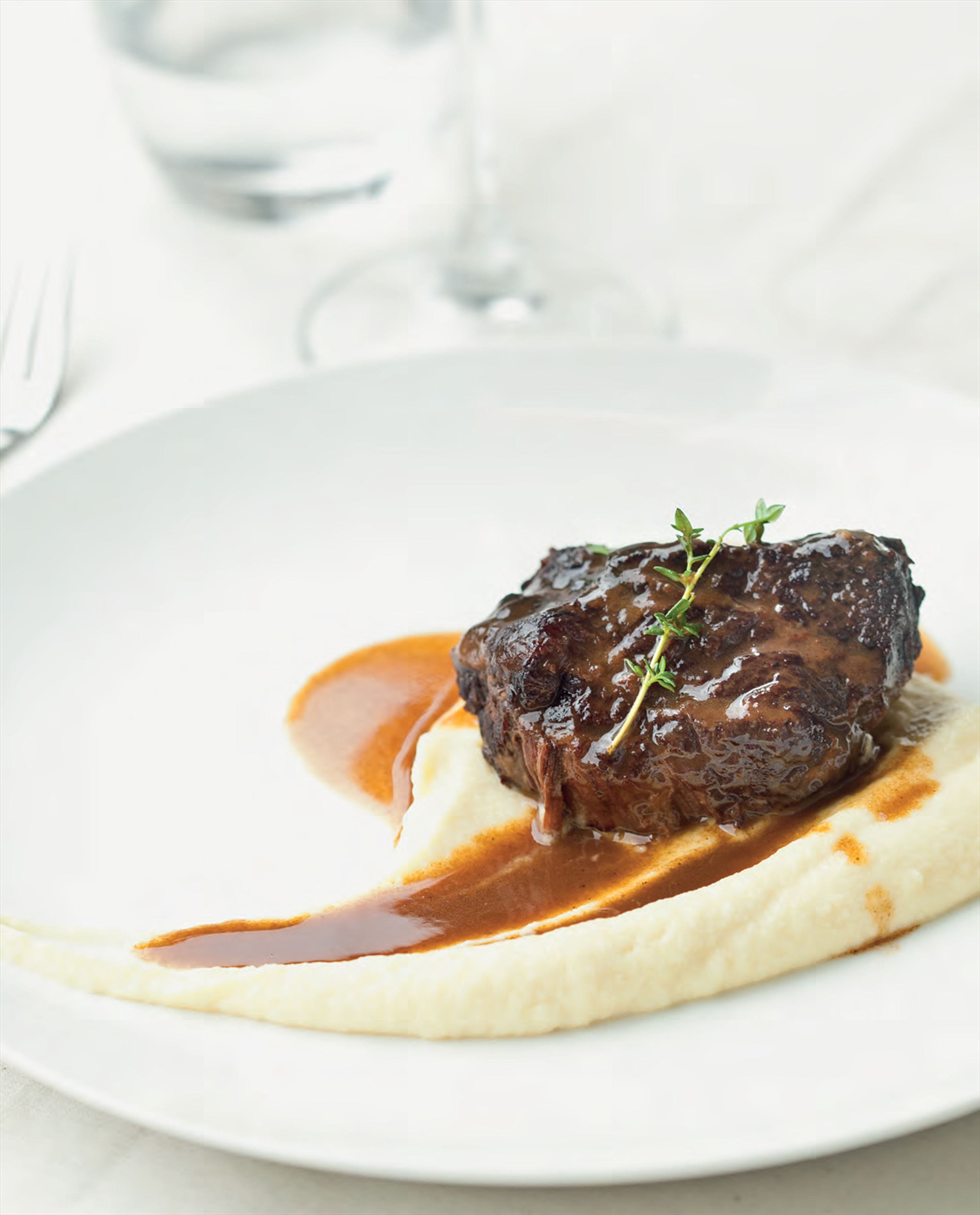 Beef cheeks bourguignon with cauliflower and leek puree