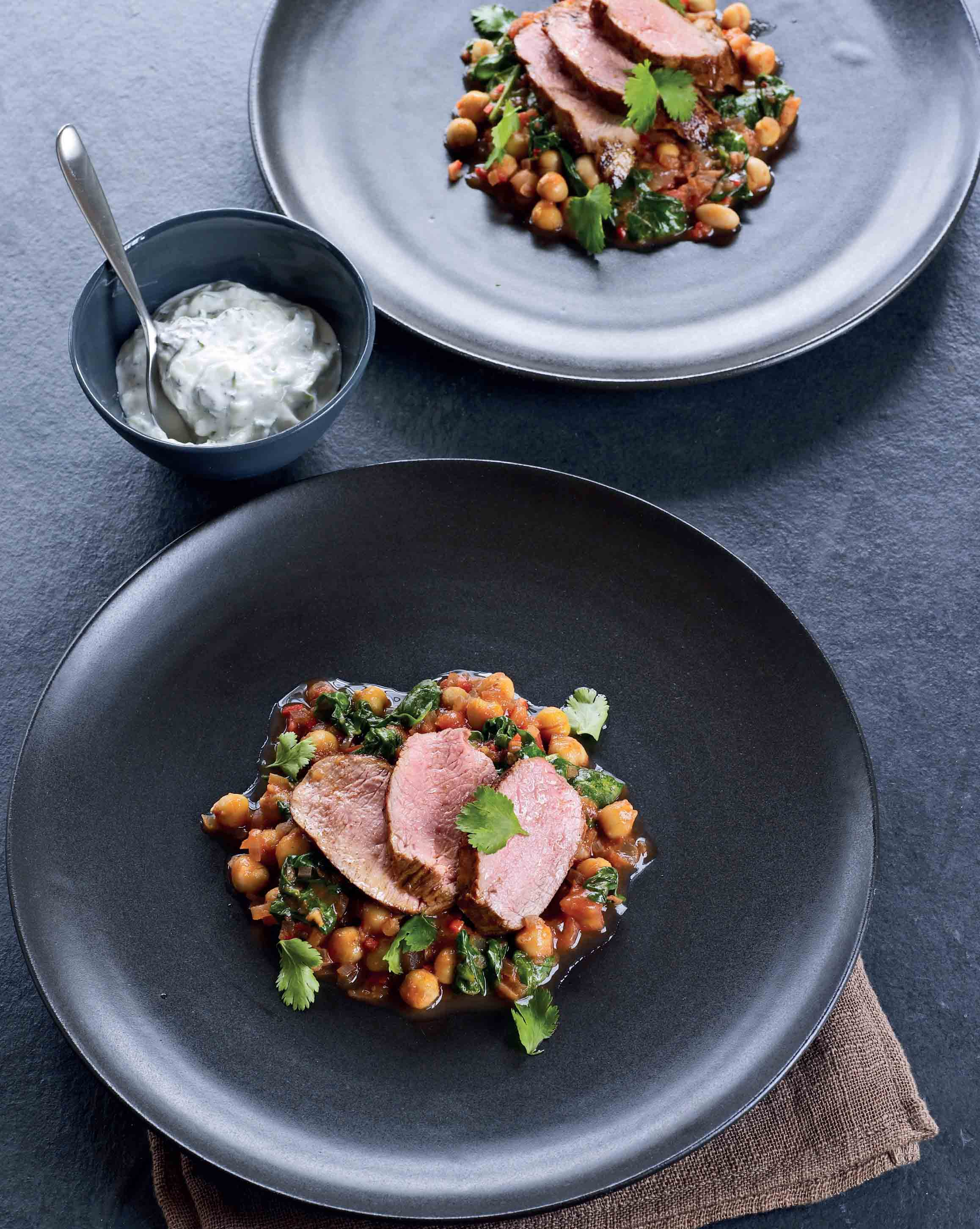 Harissa lamb with spinach and chickpeas