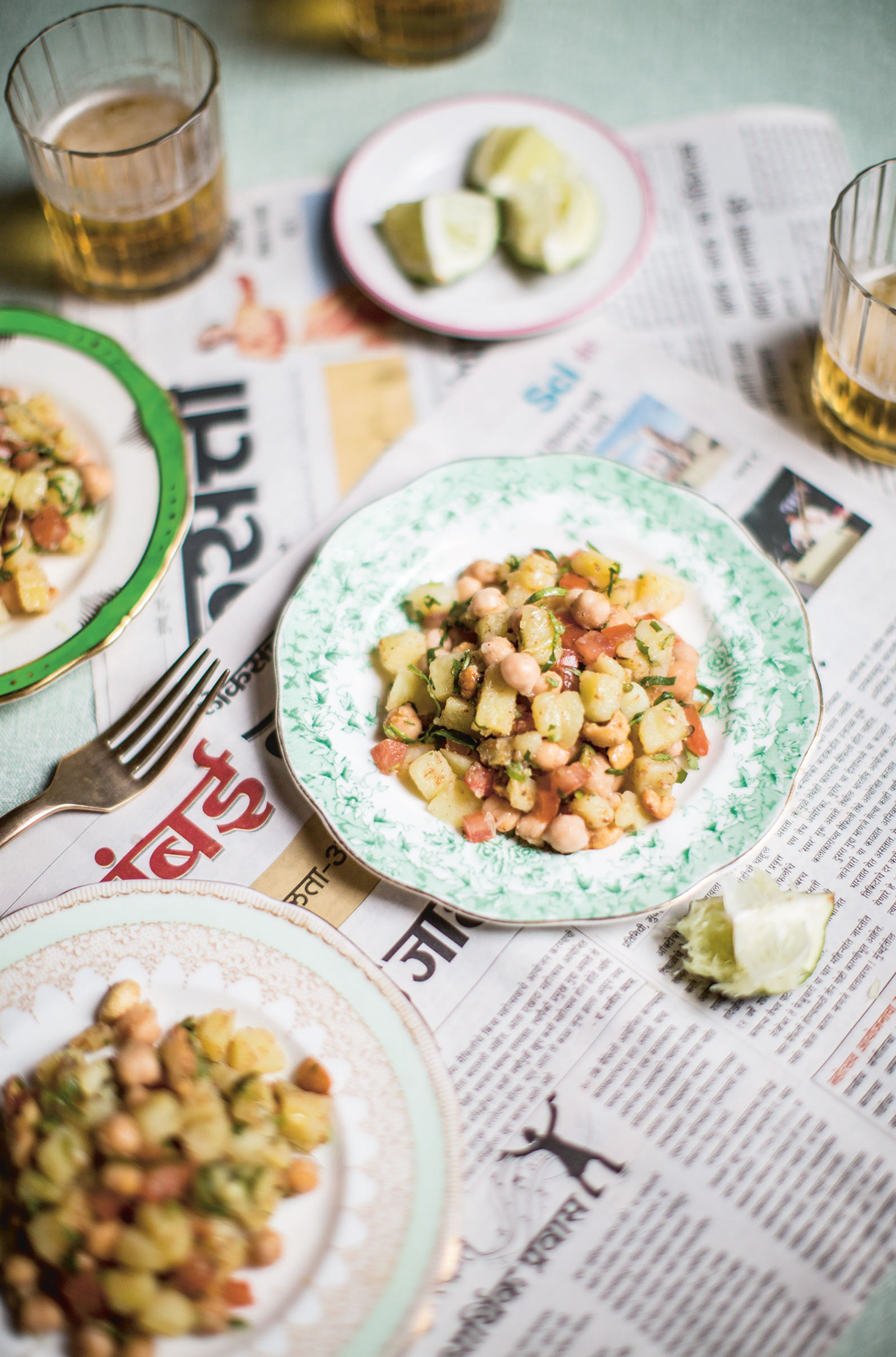 Aloo channa caju chaat