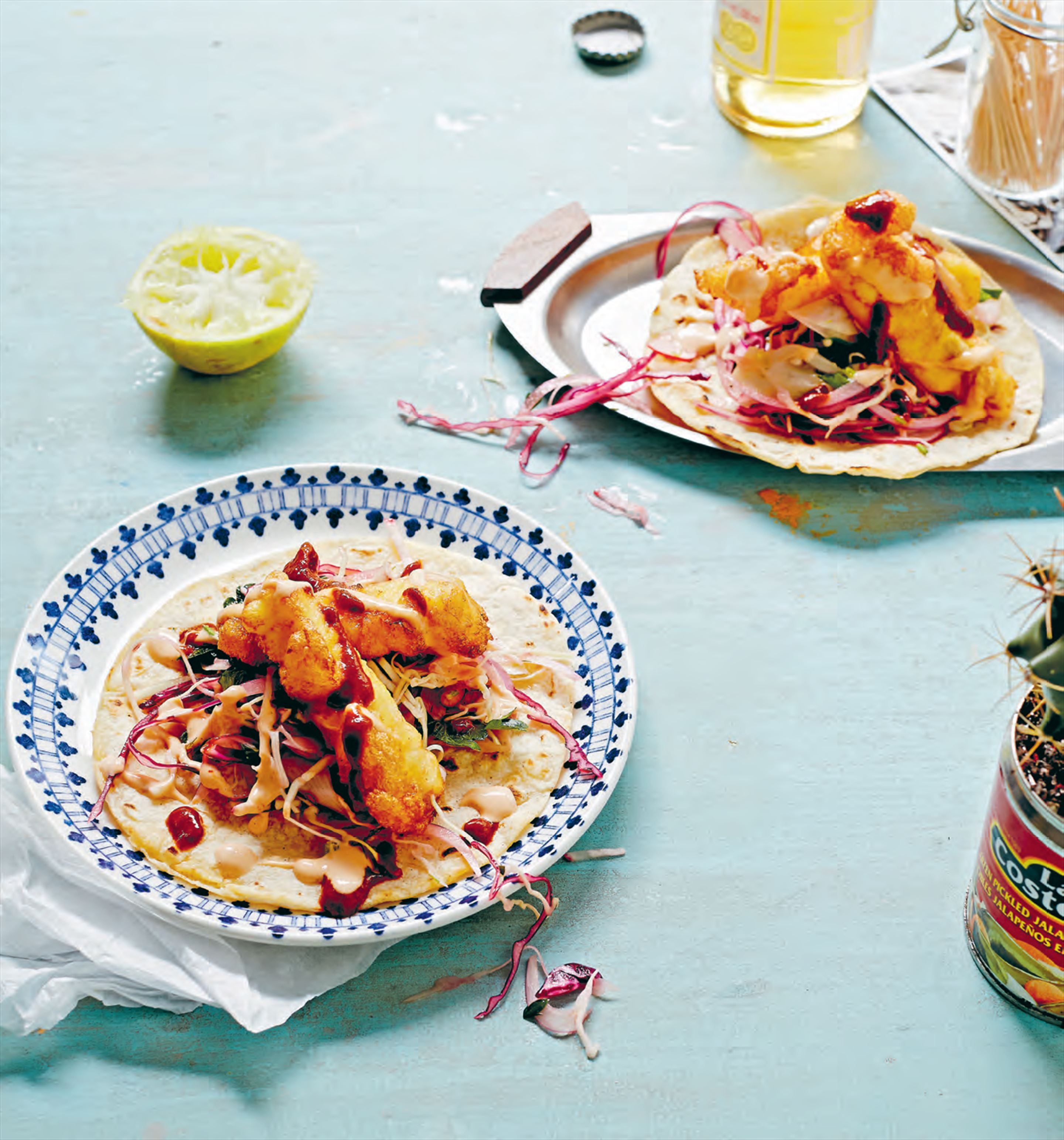 Mr Wilson's fish tacos with slaw & two sauces