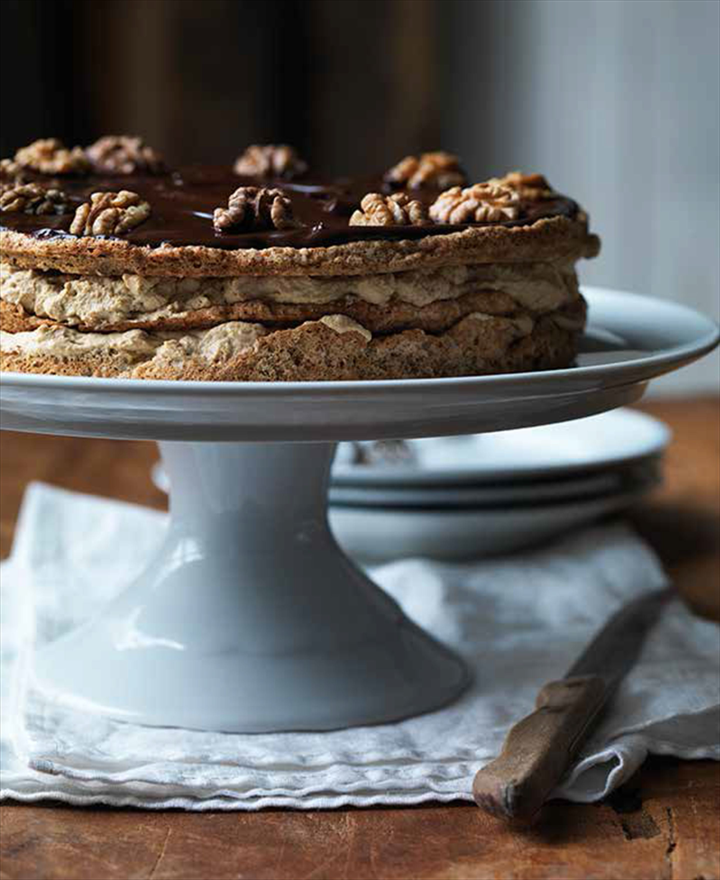 Walnut macaroon layer cake
