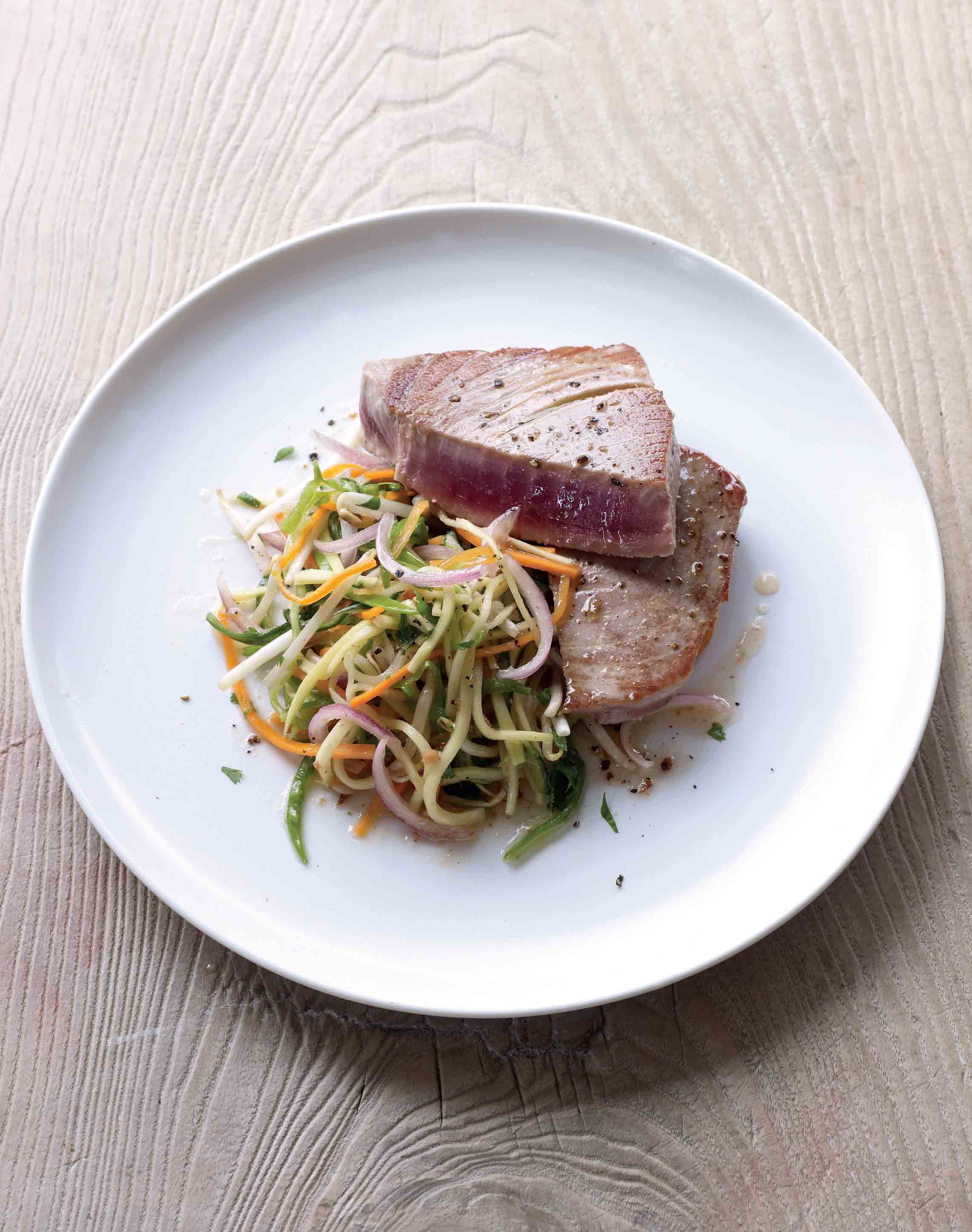 Seared tuna with a pickled vegetable salad
