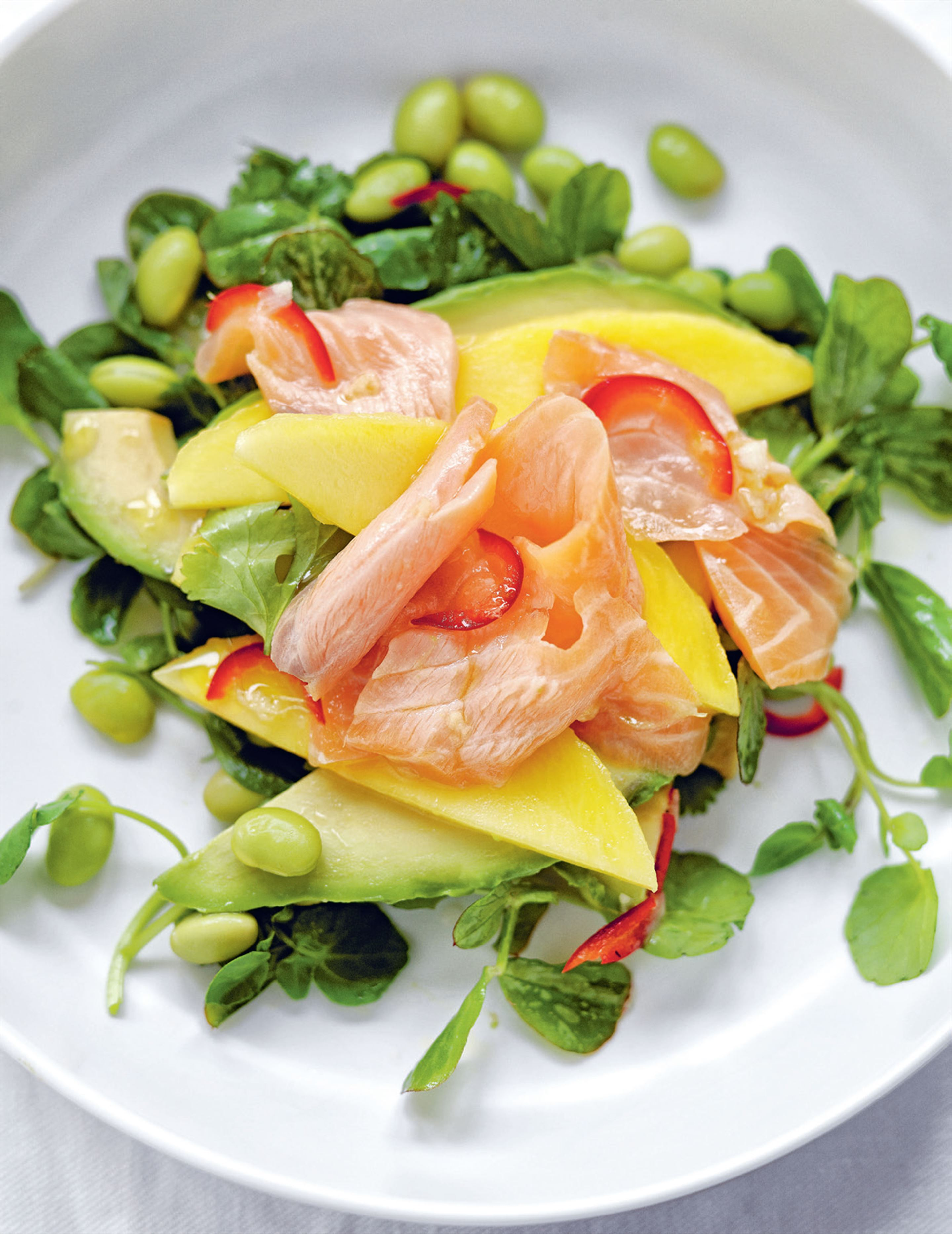 Salmon, avocado & bean salad with mango, chilli & lime dressing