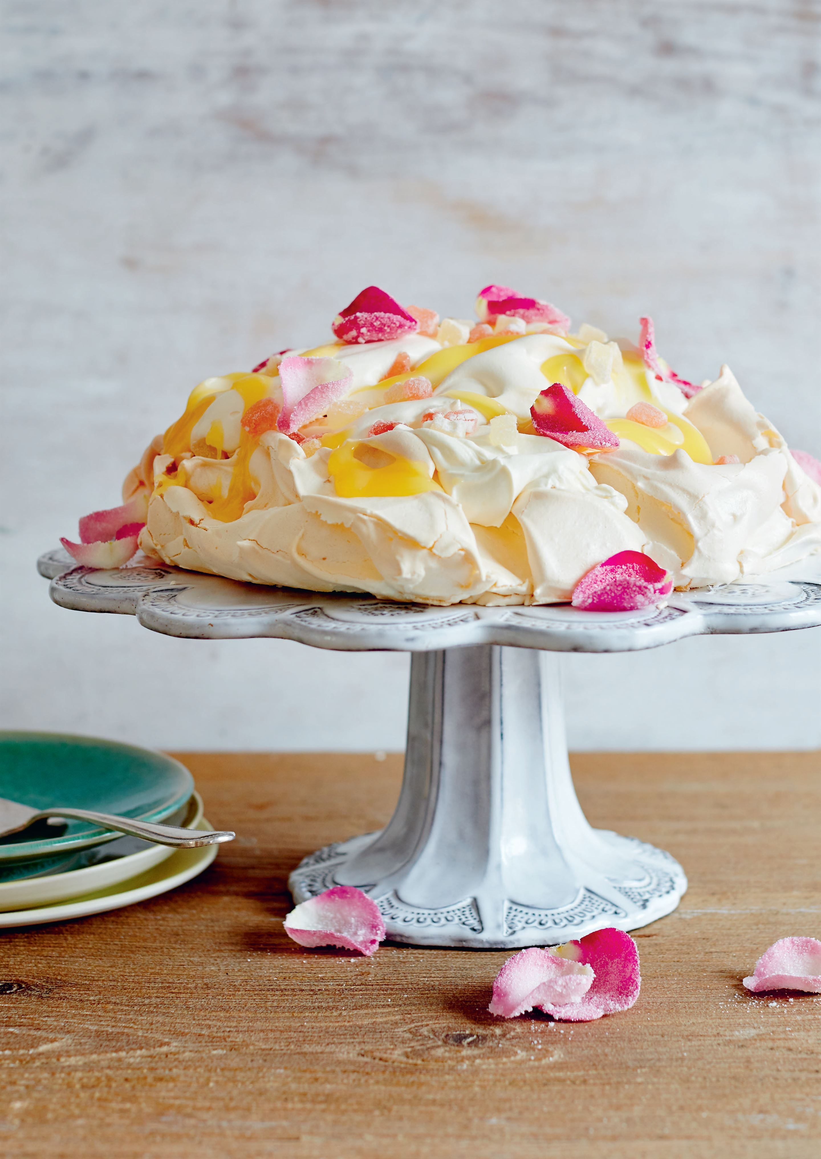 Bergamot and rose turkish delight pavlova