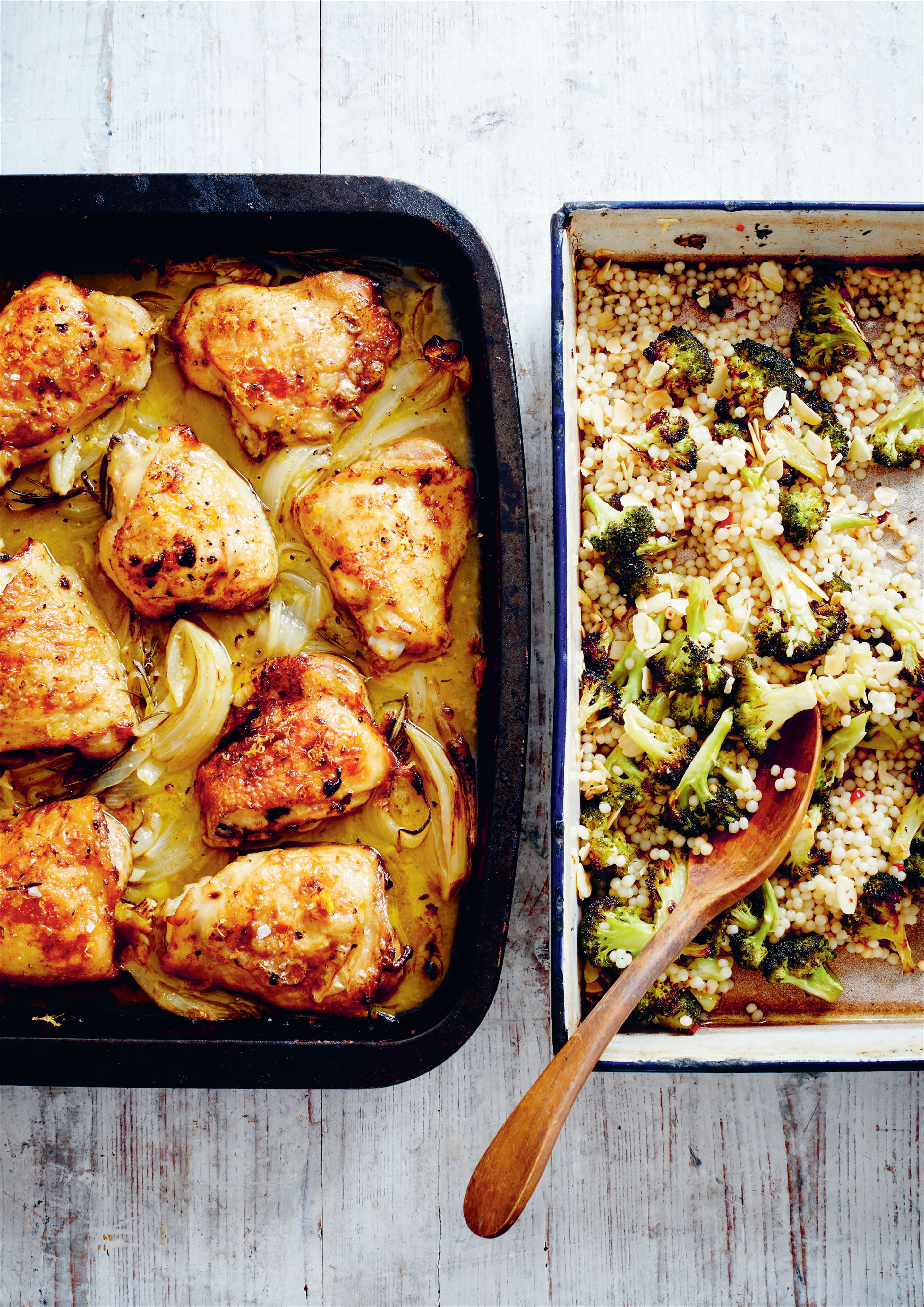 Mandarin chicken with giant couscous and charred broccoli