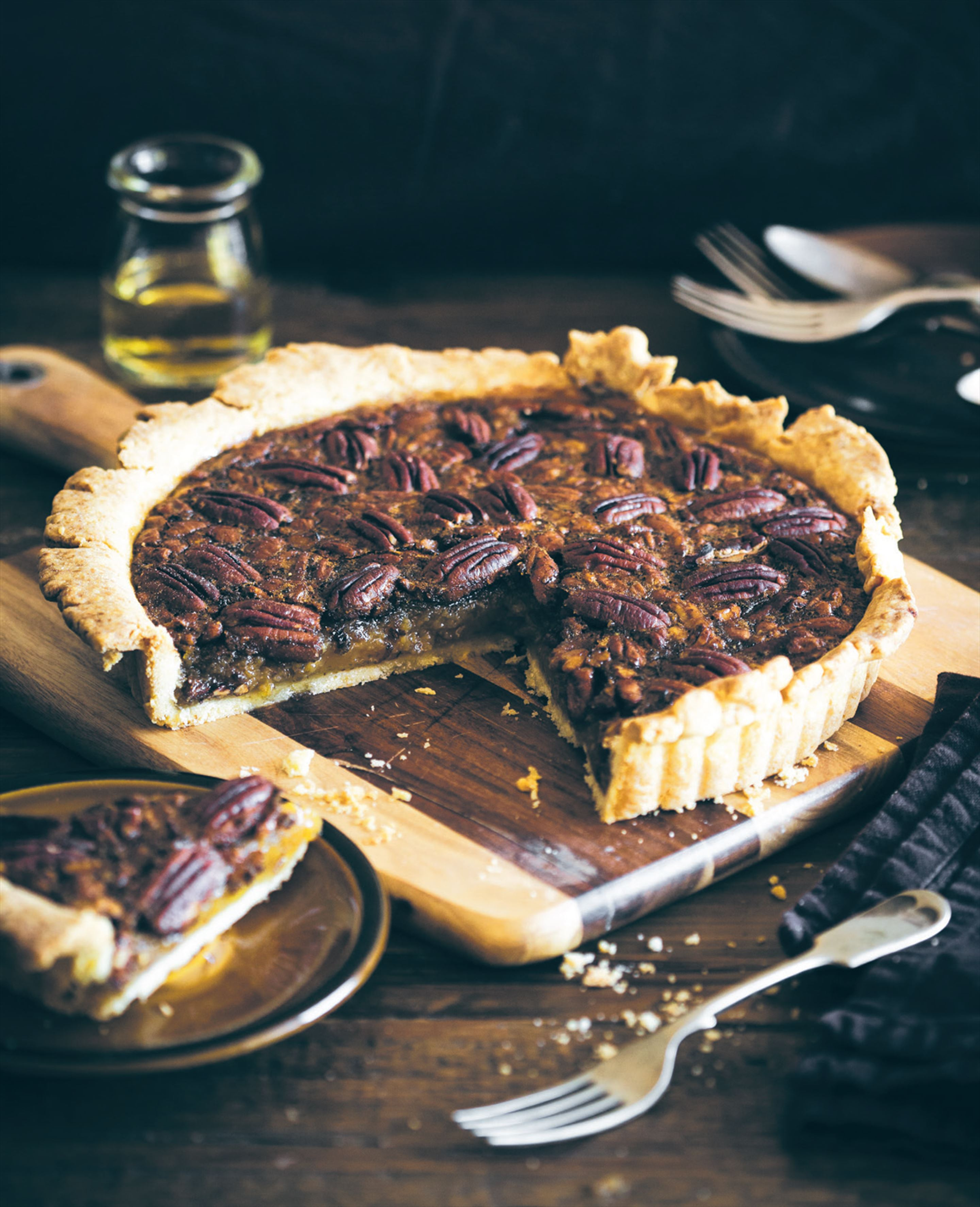 Deep-dish bourbon and maple pecan pie