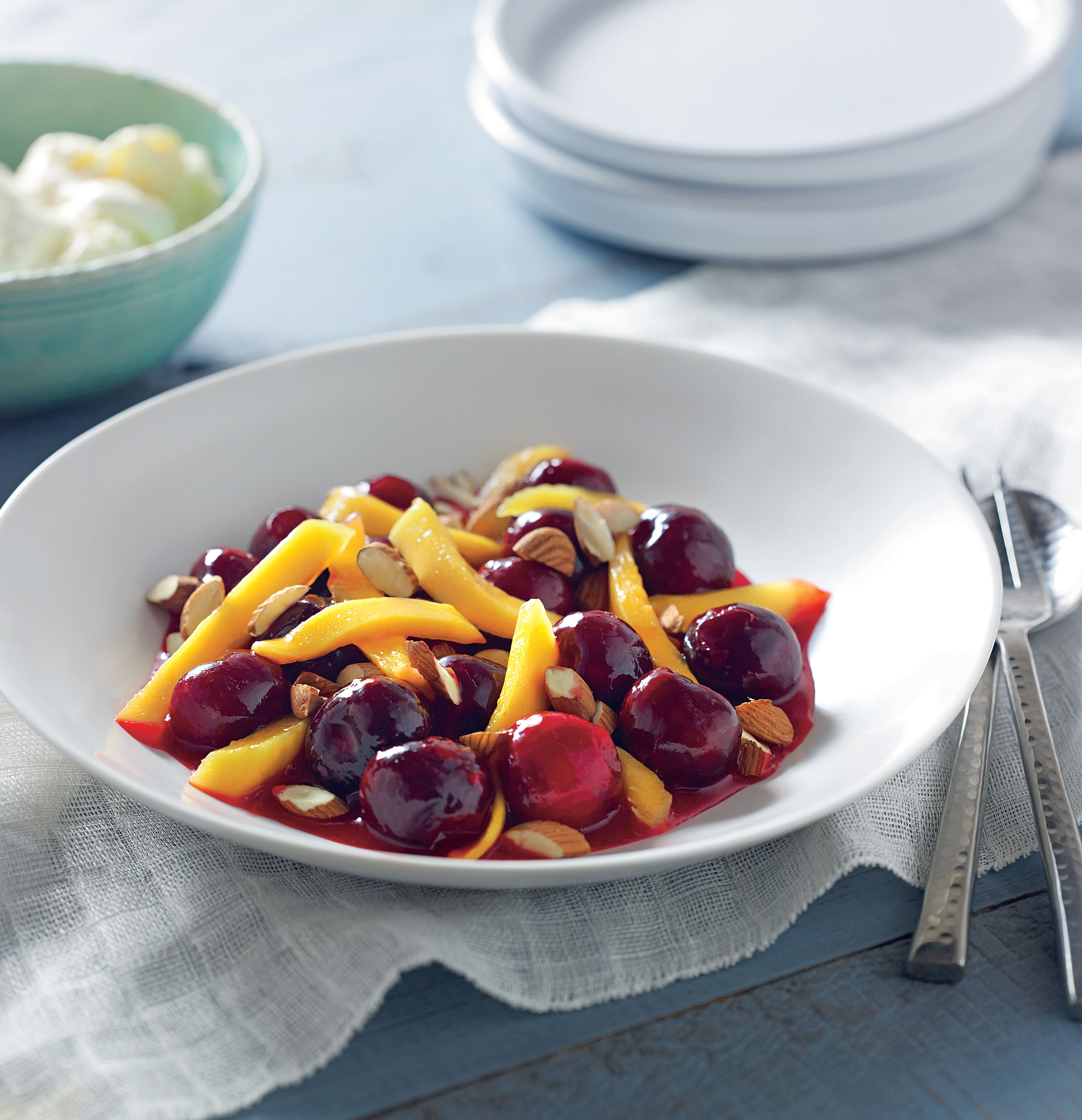 Cherry and mango fruit salad