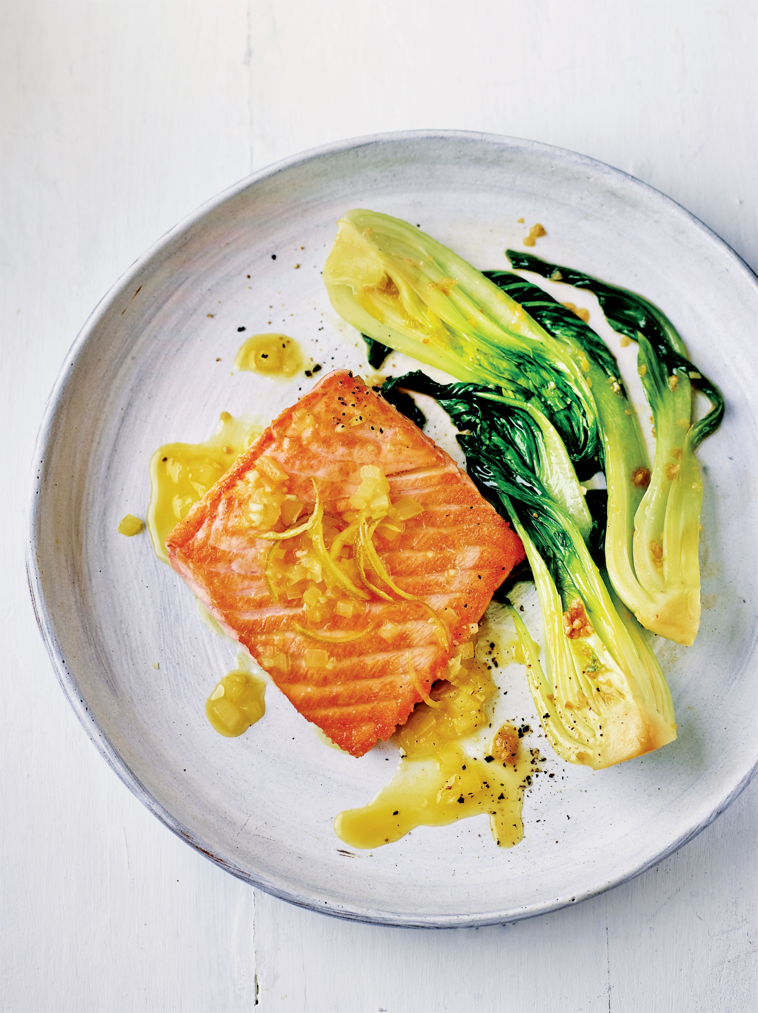 Citrus salmon with garlicky pak choi