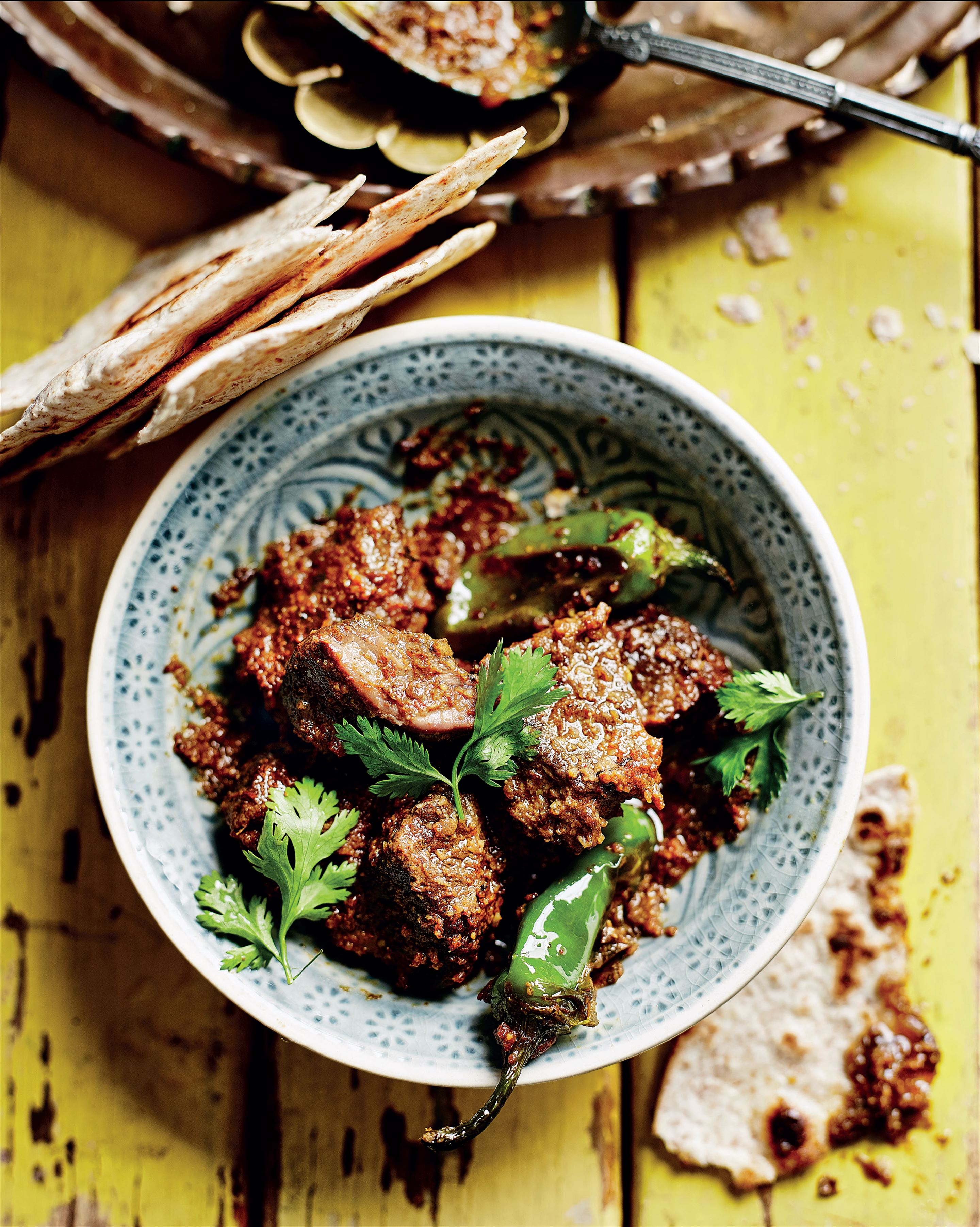 Tangy Andhra lamb with fat green chillies
