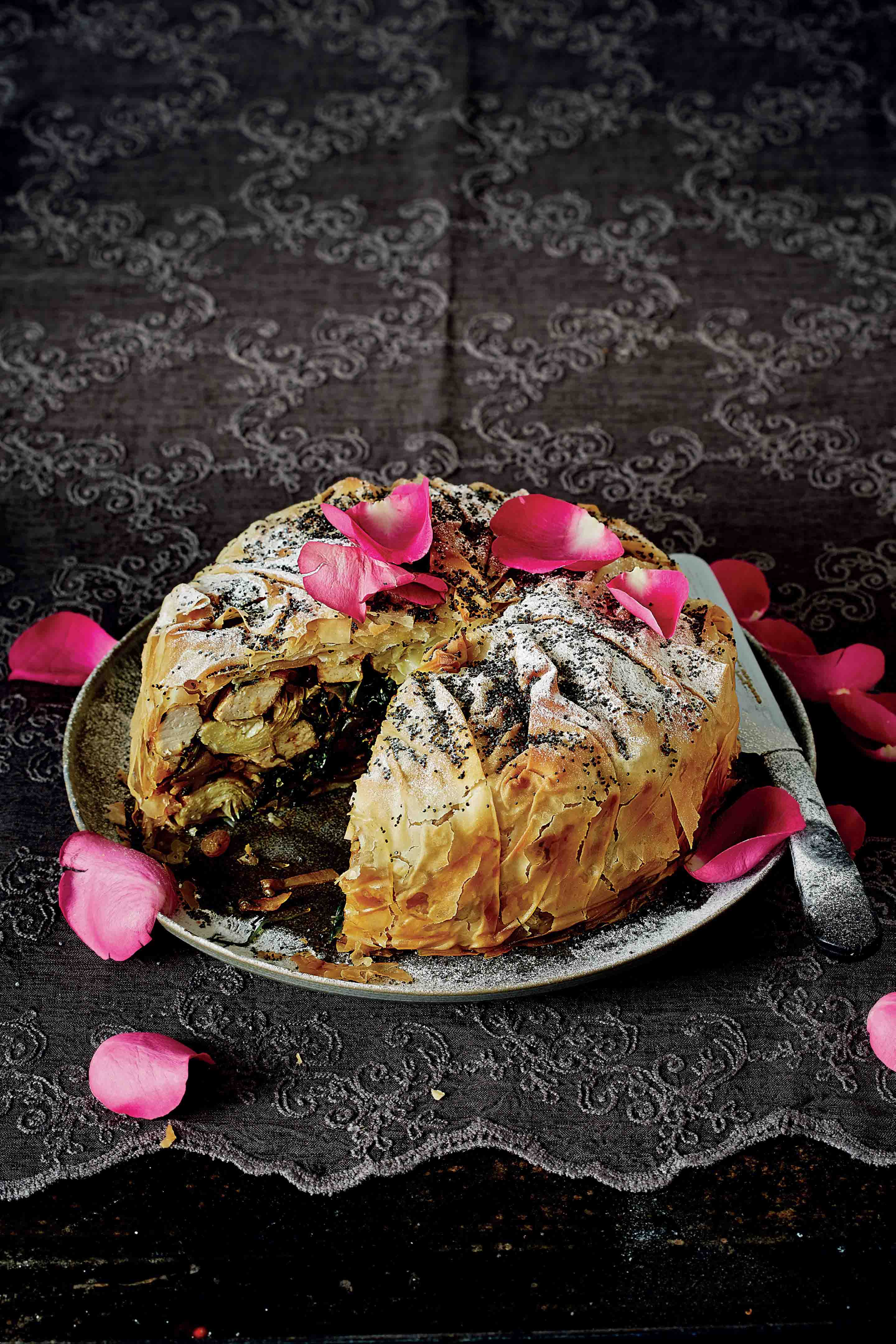 Artichoke, potato, spinach & tofu b'stilla with poppy seeds & rose petals