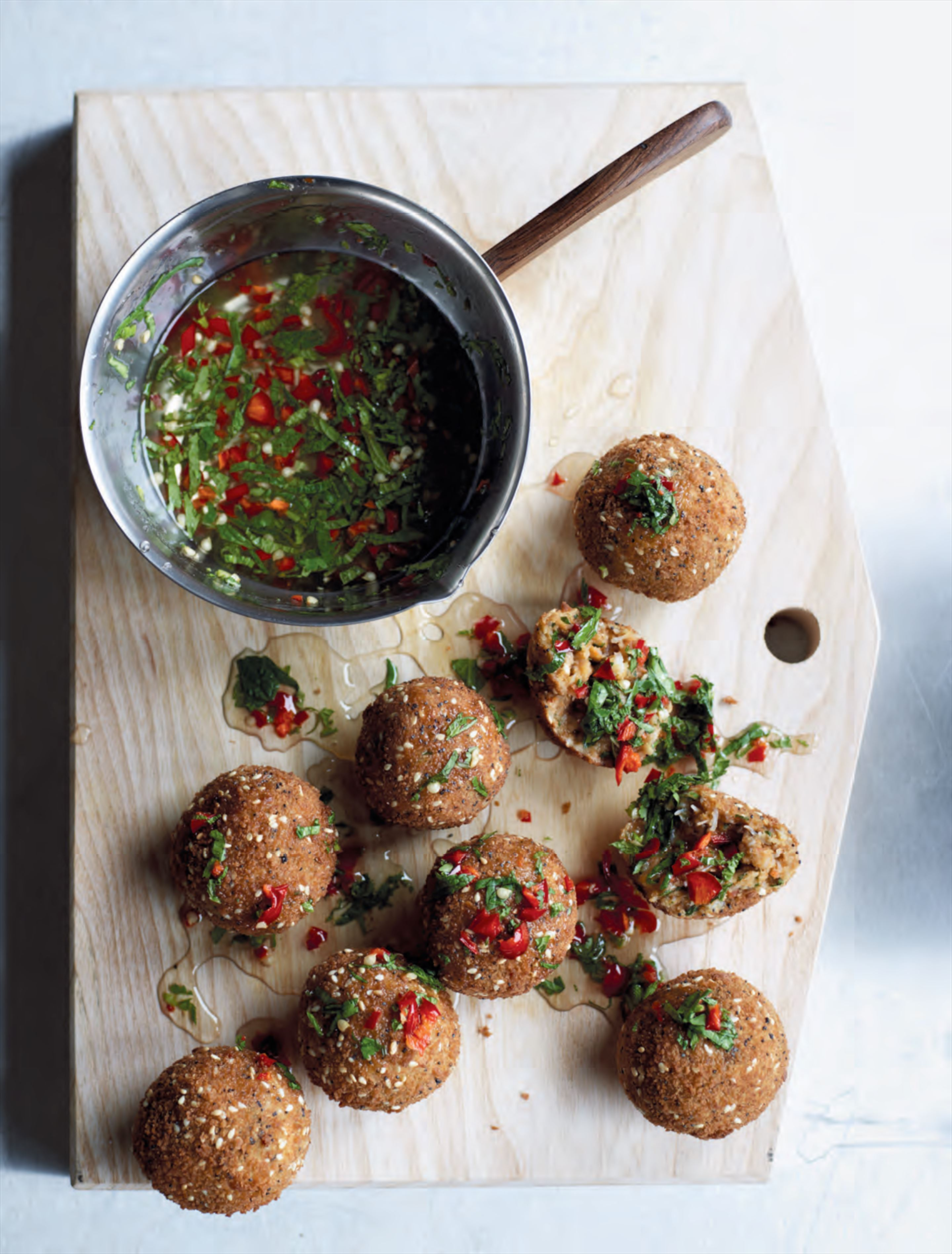 Coriander crab cakes with chilli jam
