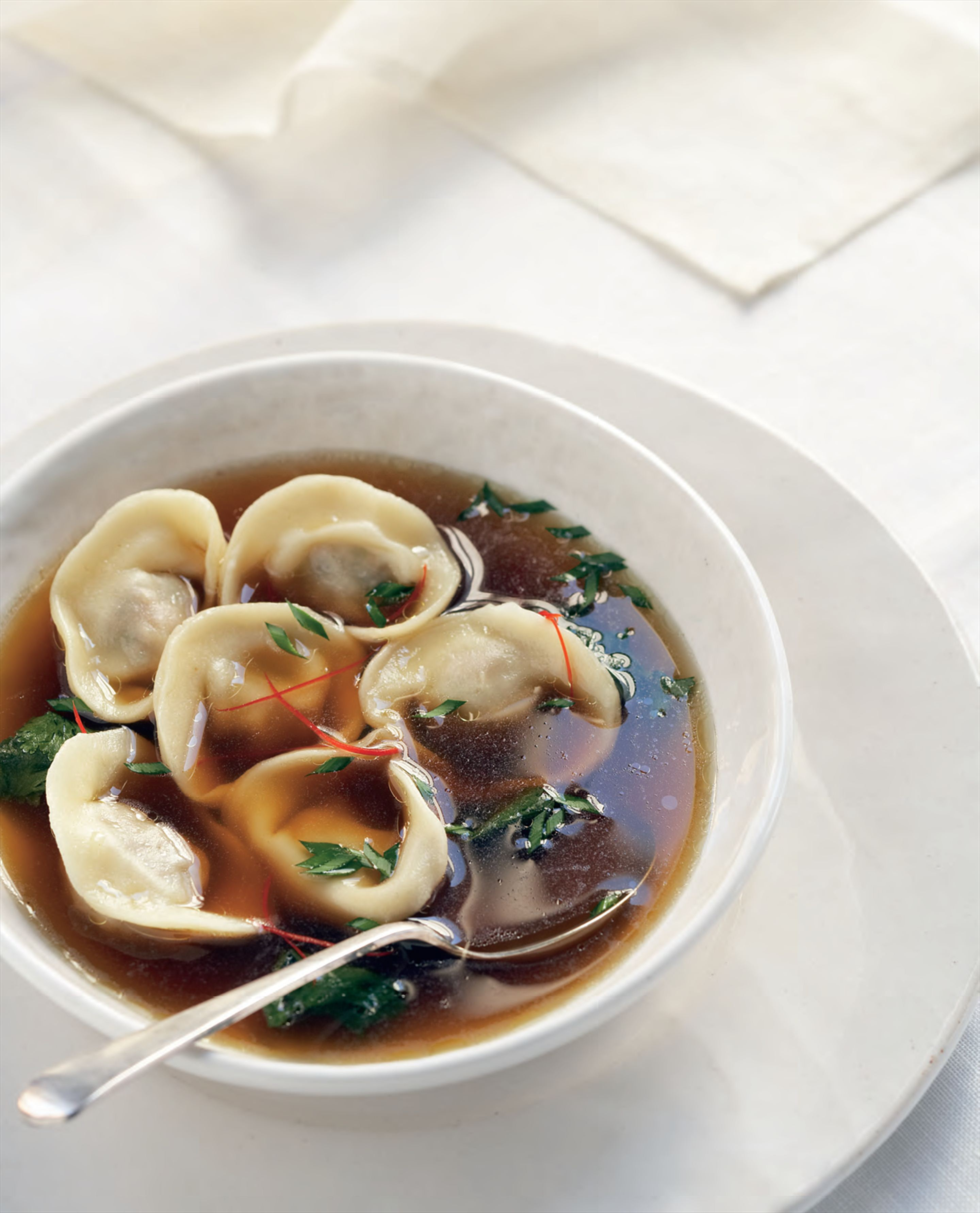 Asian-style chicken dumpling soup