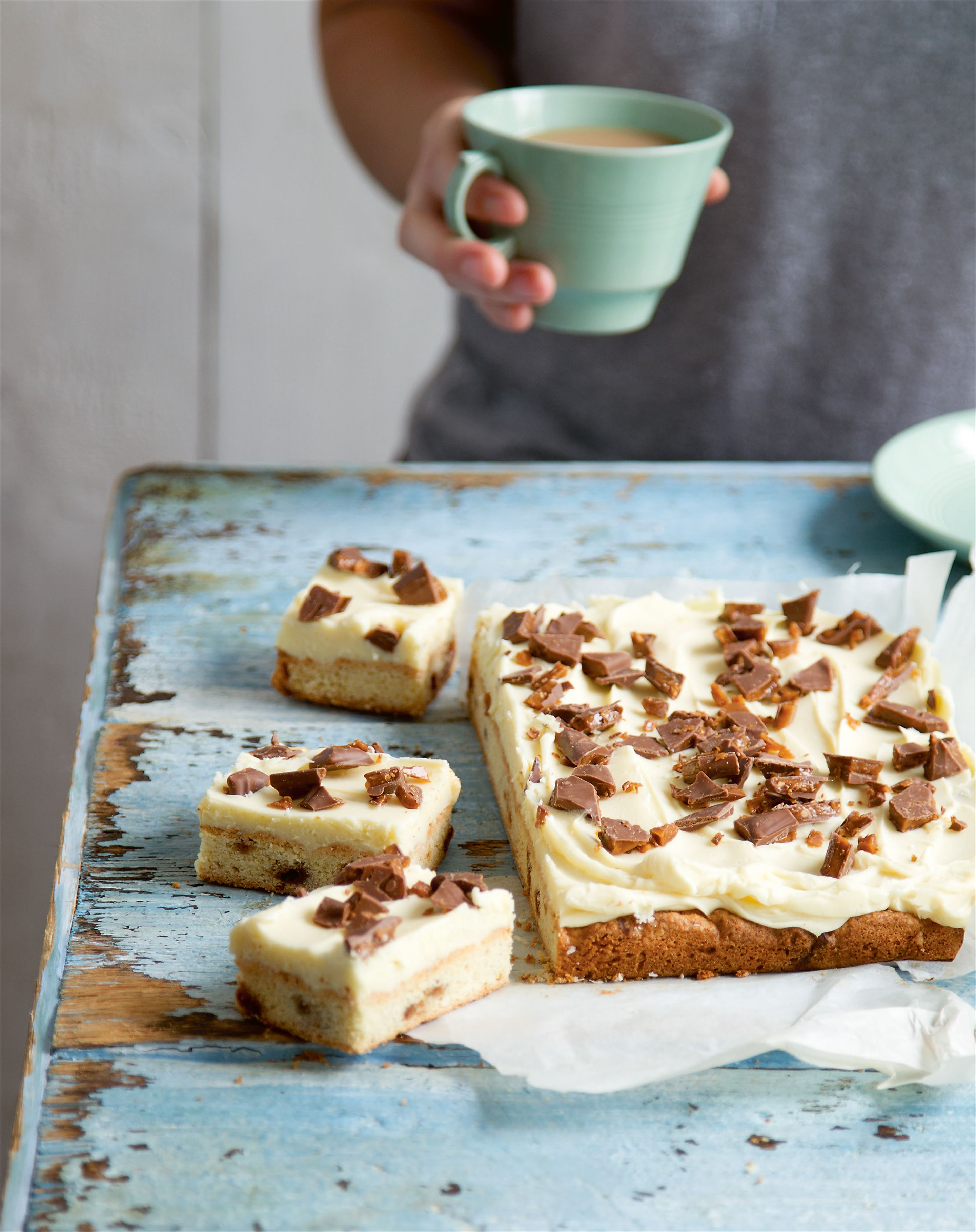 Daim and white chocolate traybake