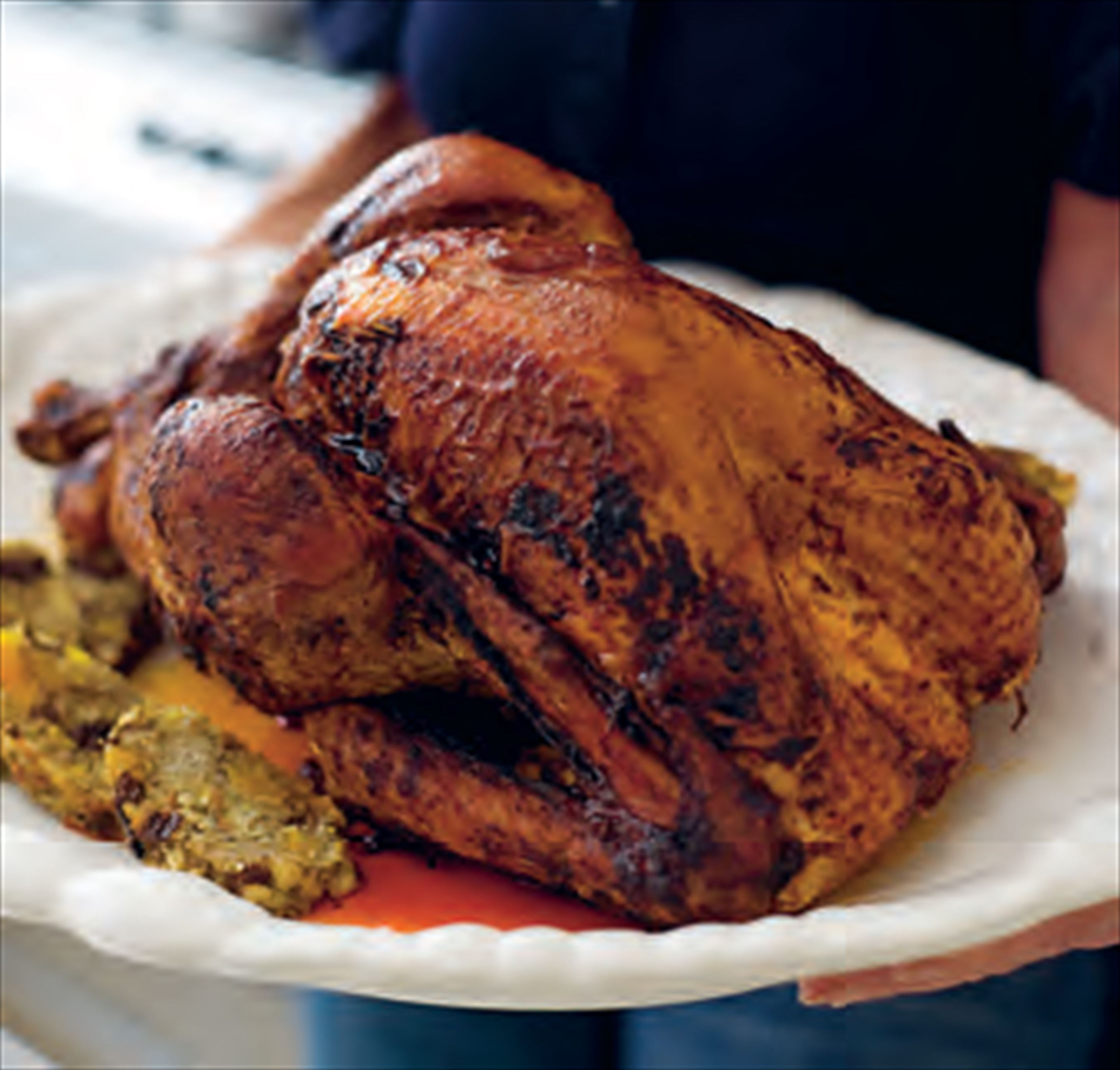 Roast turkey with apricot stuffing